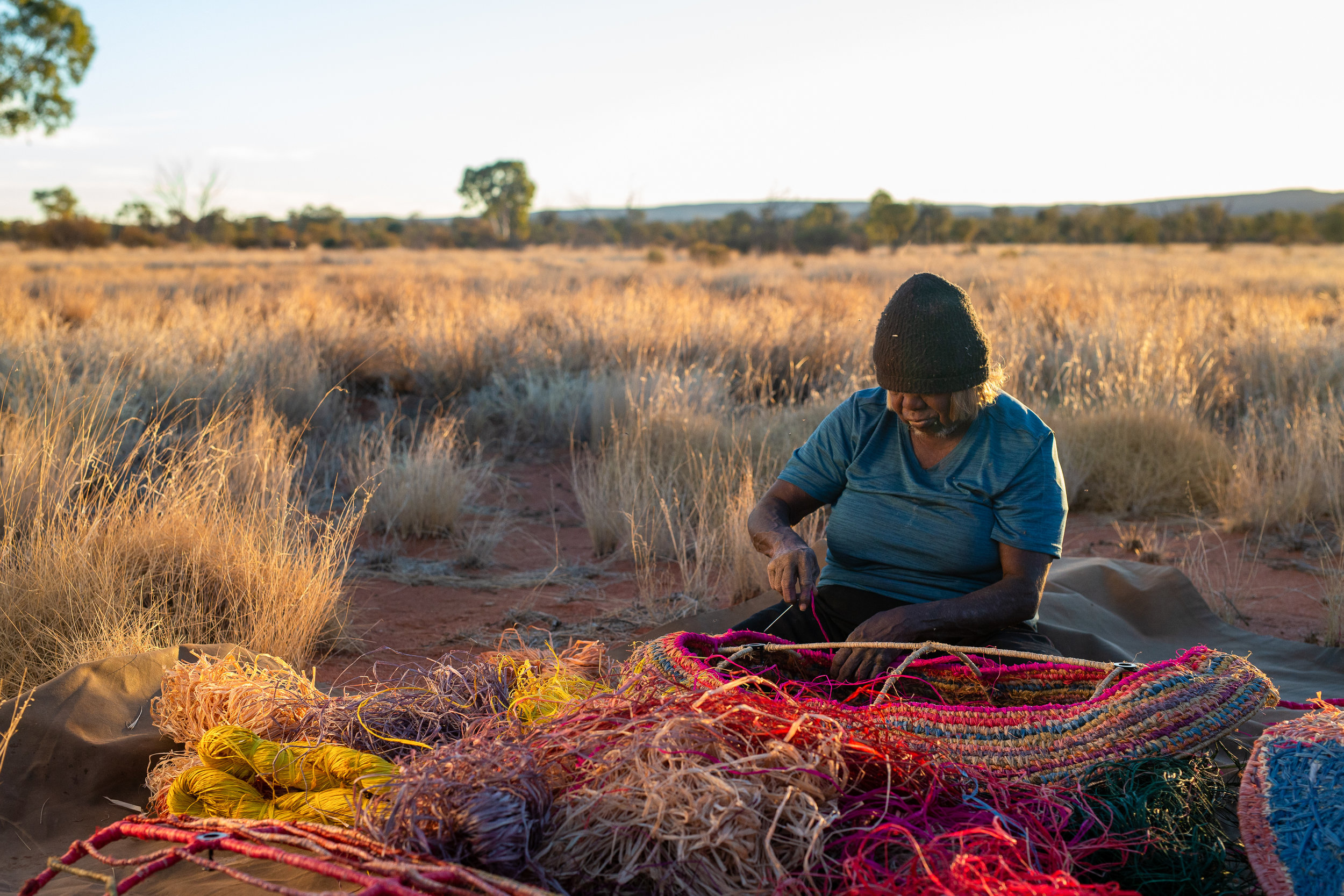 Artist Nancy Nanana Jackson from Tjanpi Desert Weavers. Photo - Rhett Hammerton.