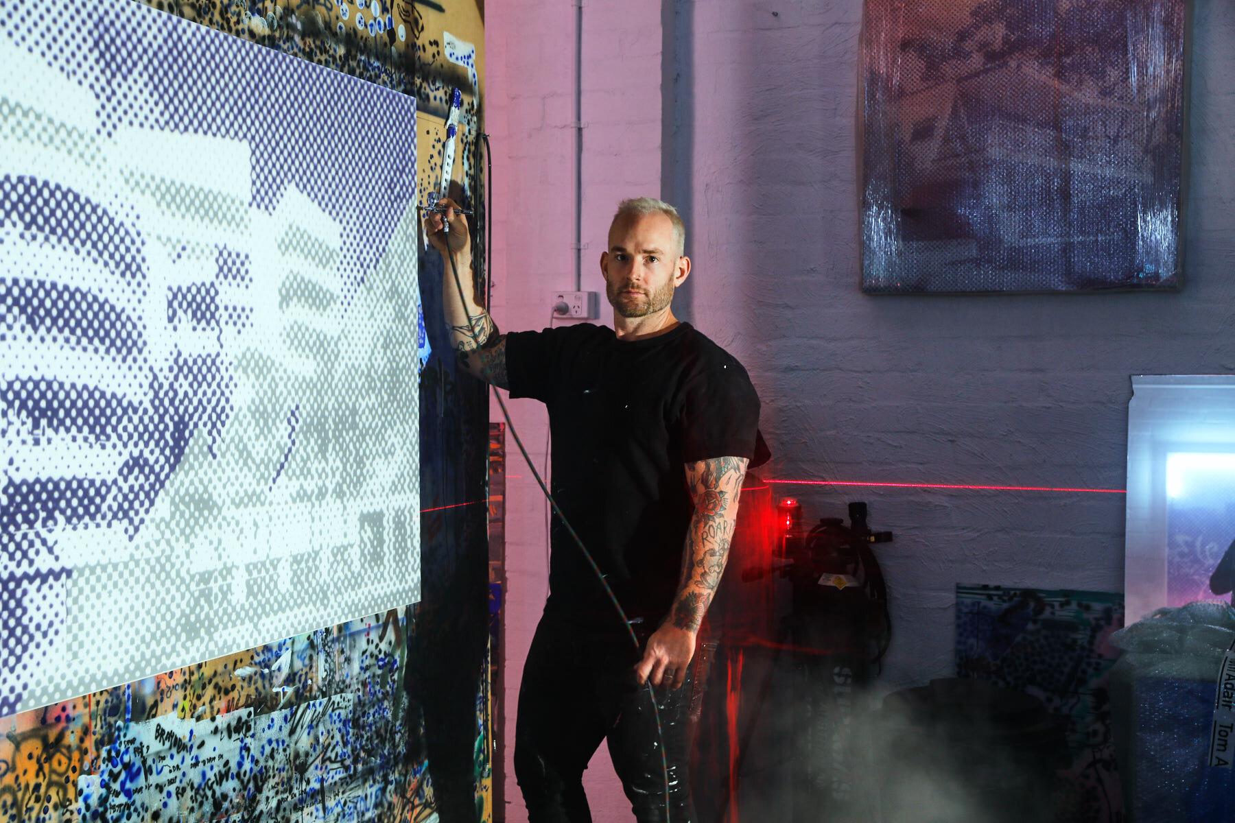 Tom Adair in his Melbourne studio. Photo - James Geer.