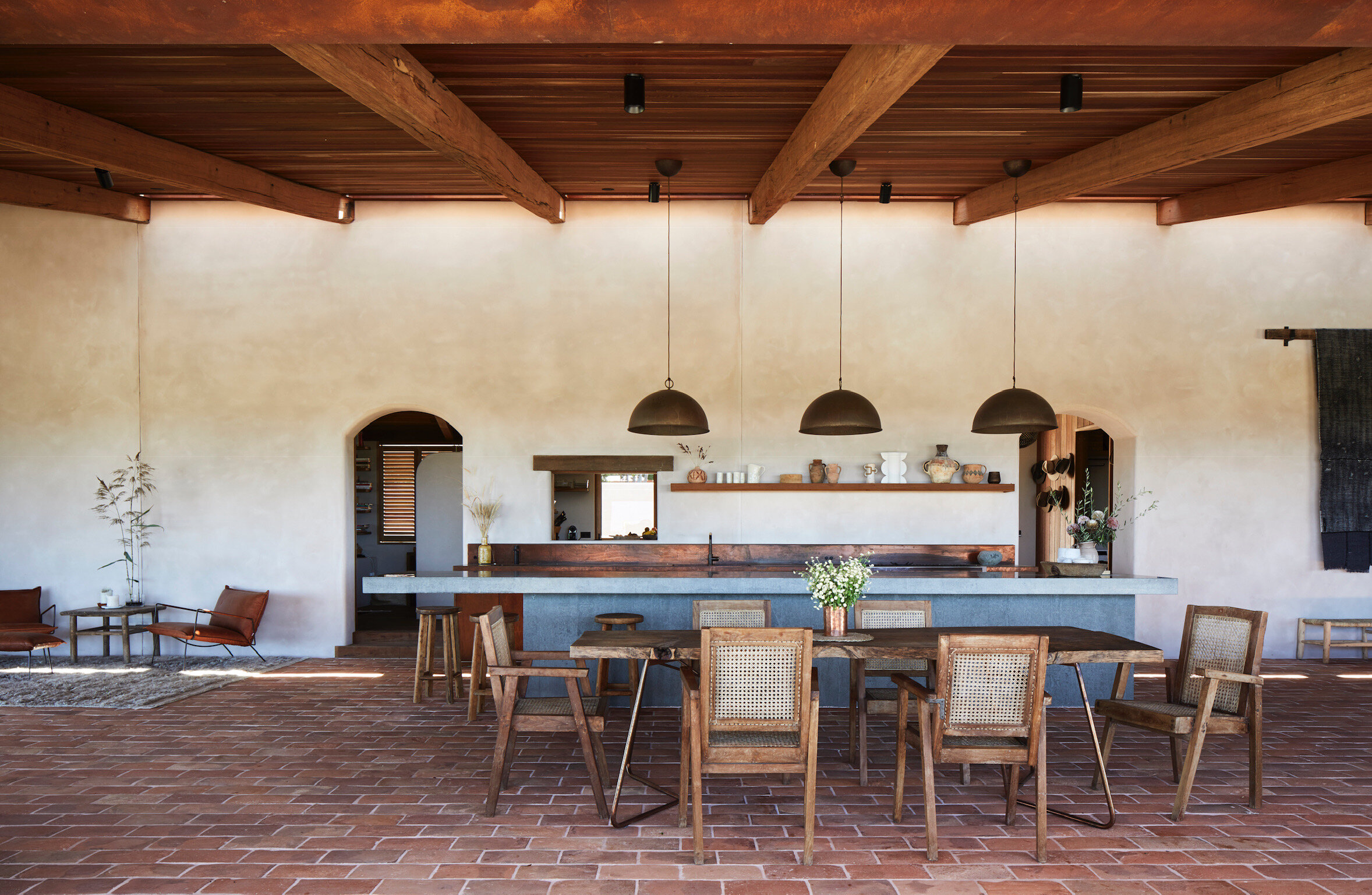 The terracotta tiles were sourced from a 300-year-old European casa, by Bryon brand,  Jatana Tiles . Photo - Alicia Taylor Photography.