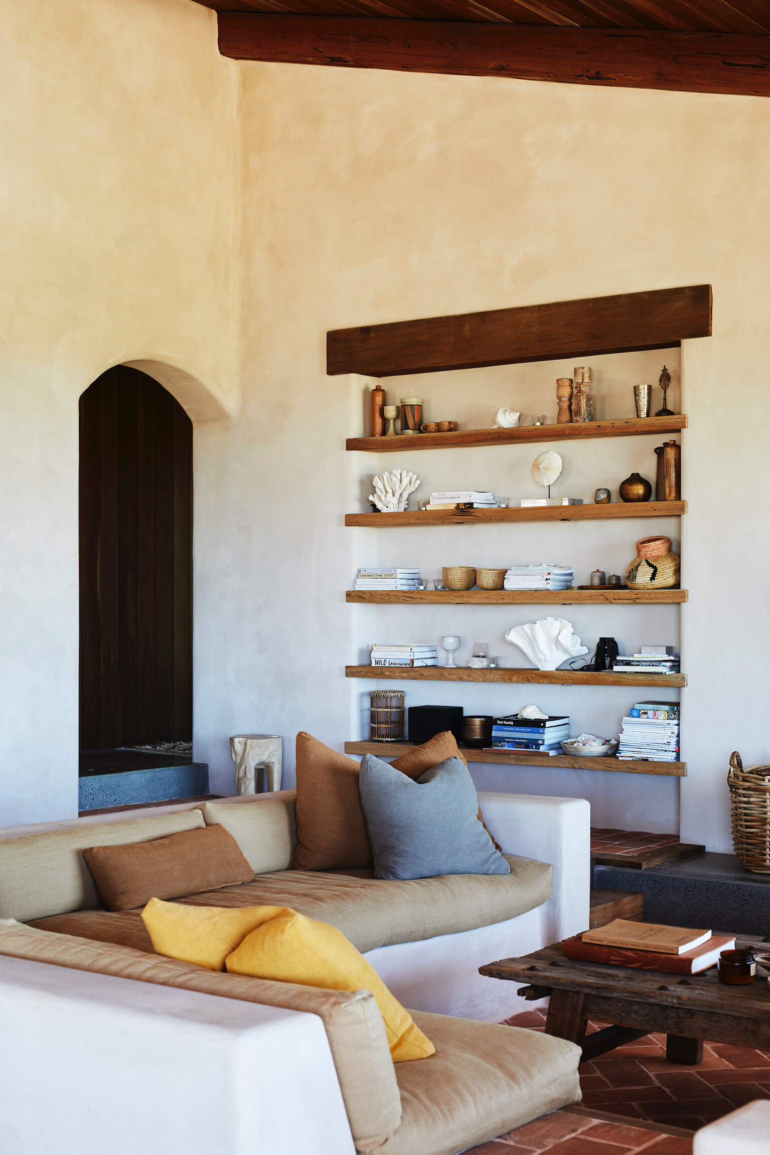 The couple incorporated timber from the former homestead on the 130-acre property for shelving in the new house. Photo - Alicia Taylor Photography.