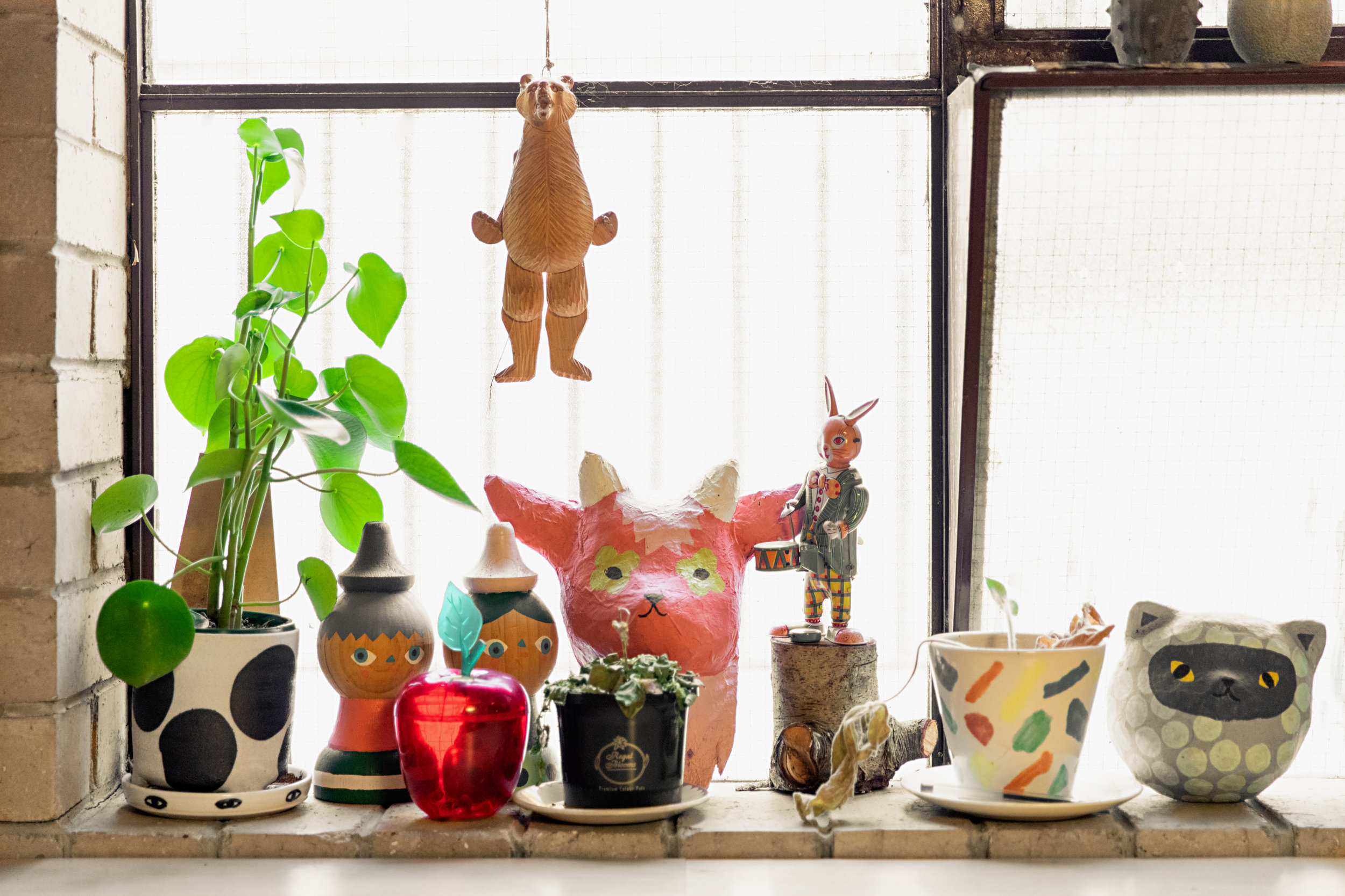 A series of quirky and vibrant objects sitting in Beci Orpin's Brunswick studio.