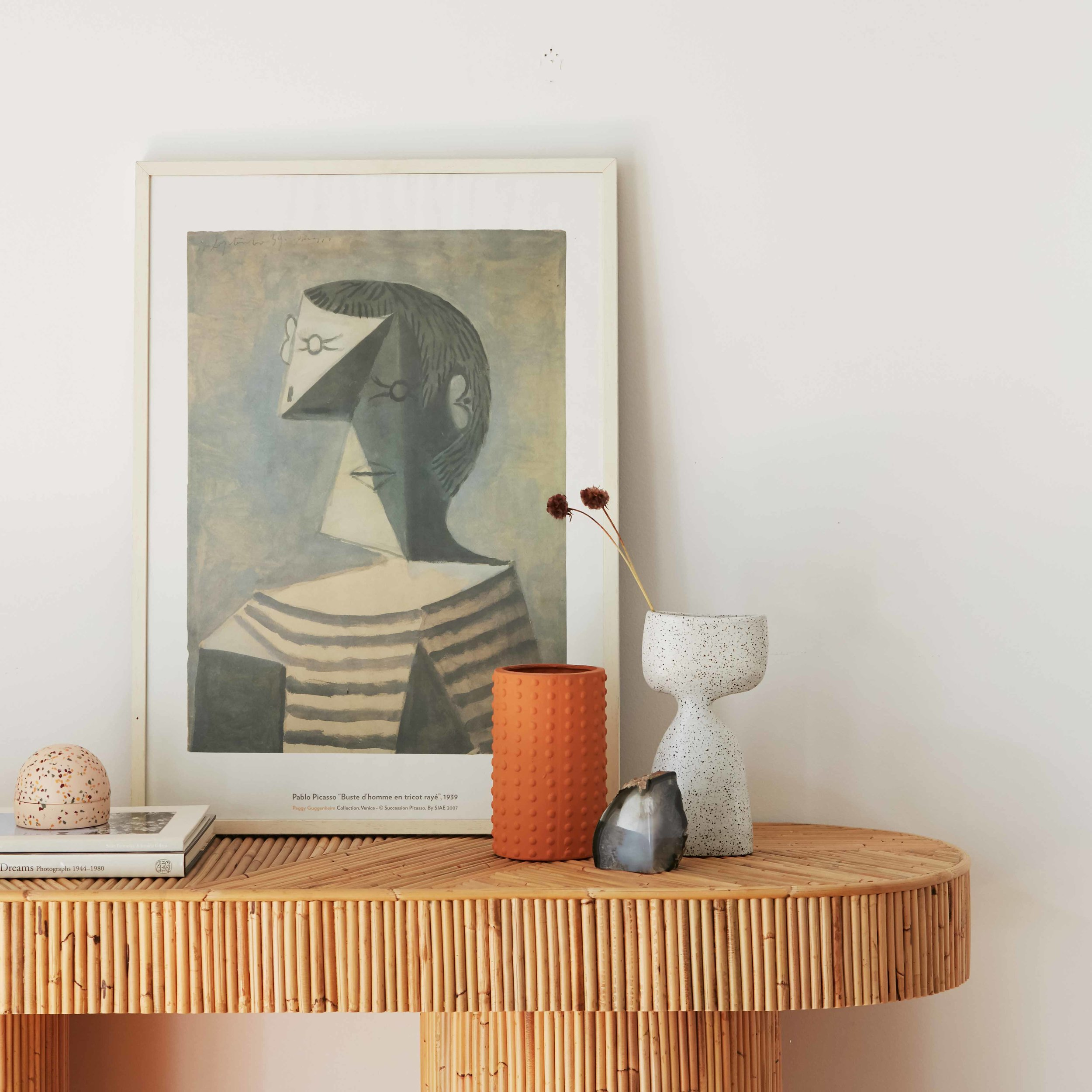 The  Halston  table by  Sarah Ellison  sits with some of the duo's current favourite edits. Photo -  Jacqui Turk .