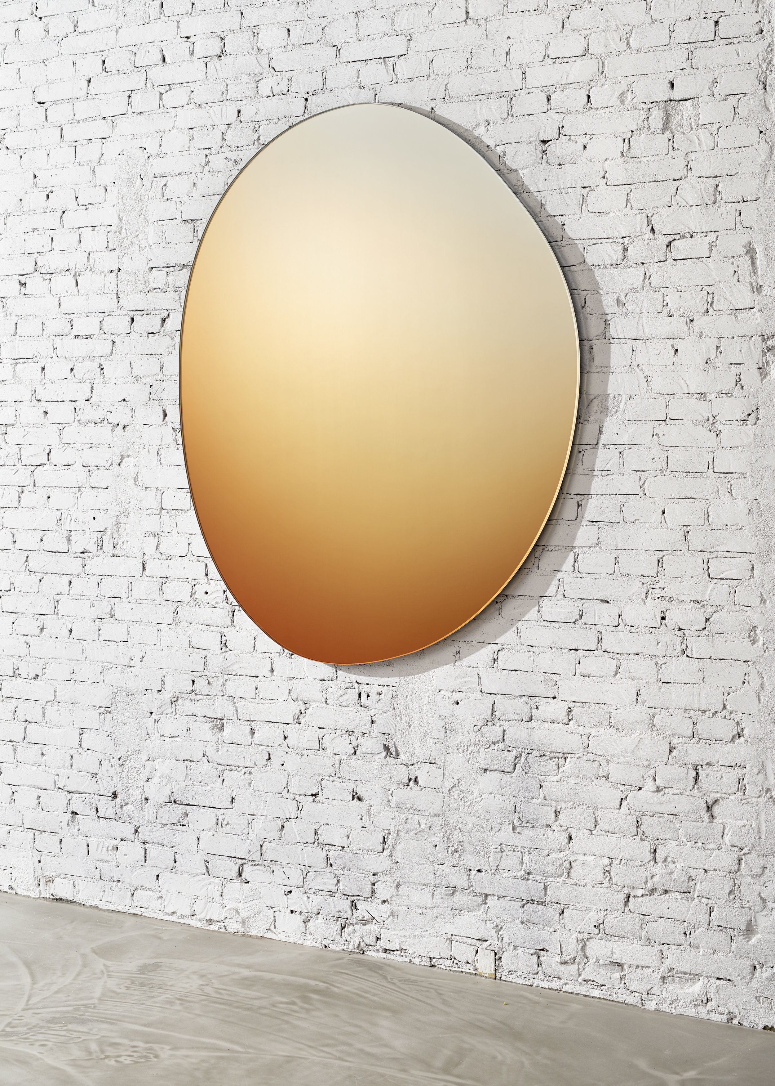 'SEEING GLASS' OFFROUND HUE  | A family of hand-drawn shaped mirrors which have a hue of colour. Photo -  Studio Pim Top .