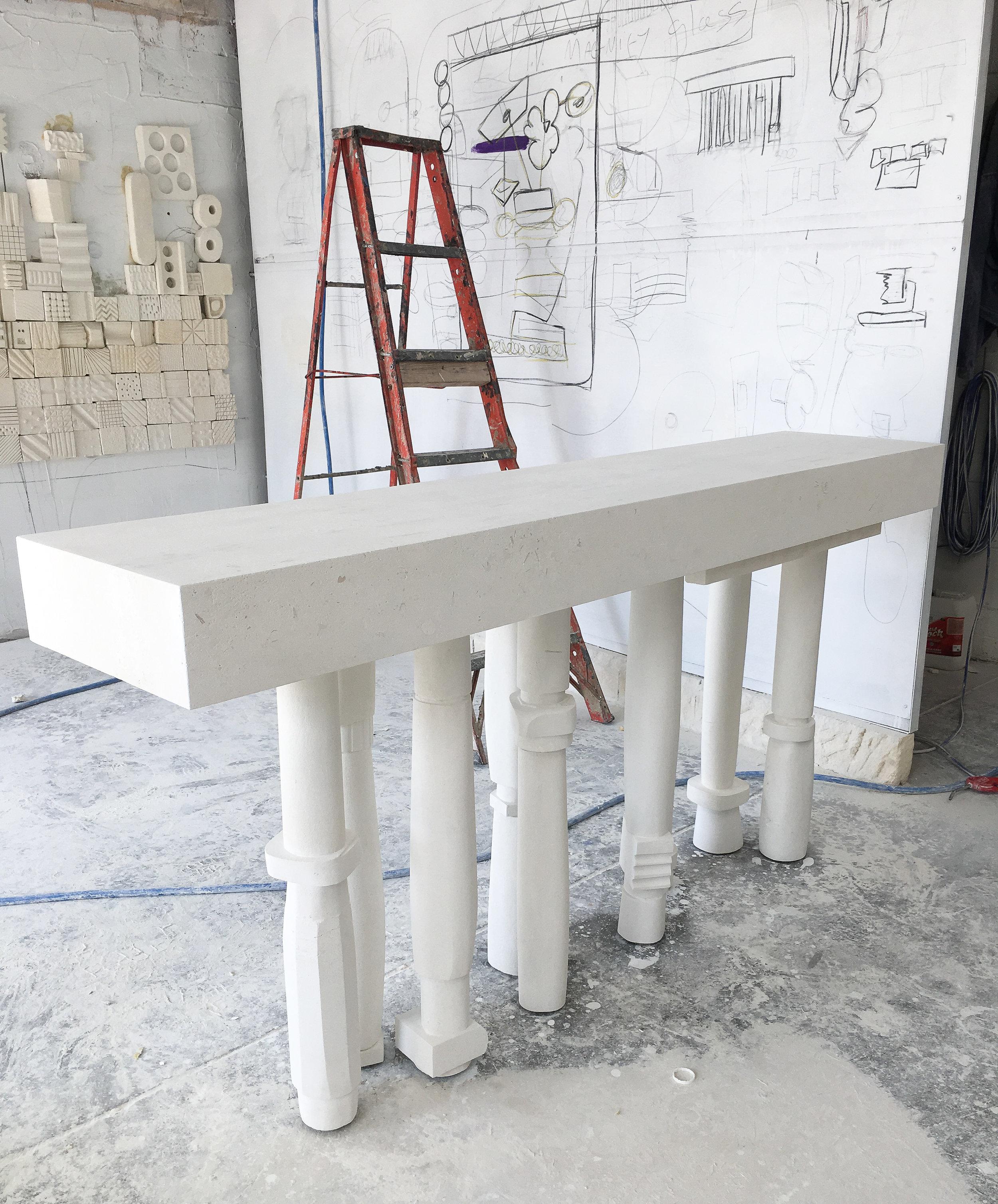 Works in progress in the Melbourne studio of denHolm. Photo - Steven John Clark.