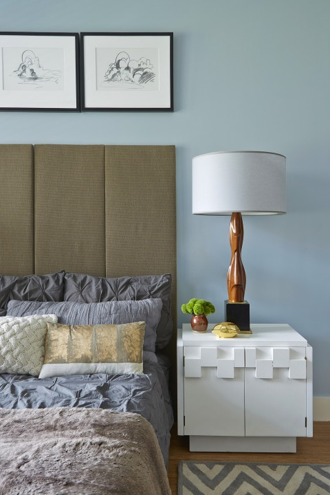 The bedroom harmoniously combines new, vintage and updated vintage pieces.