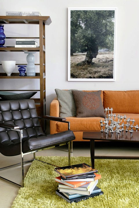 High-contrast colors and a variety of textures and materials amp up the energy of the room.