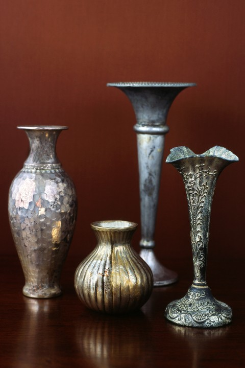 Individual vintage pewter and silver curated into a collection