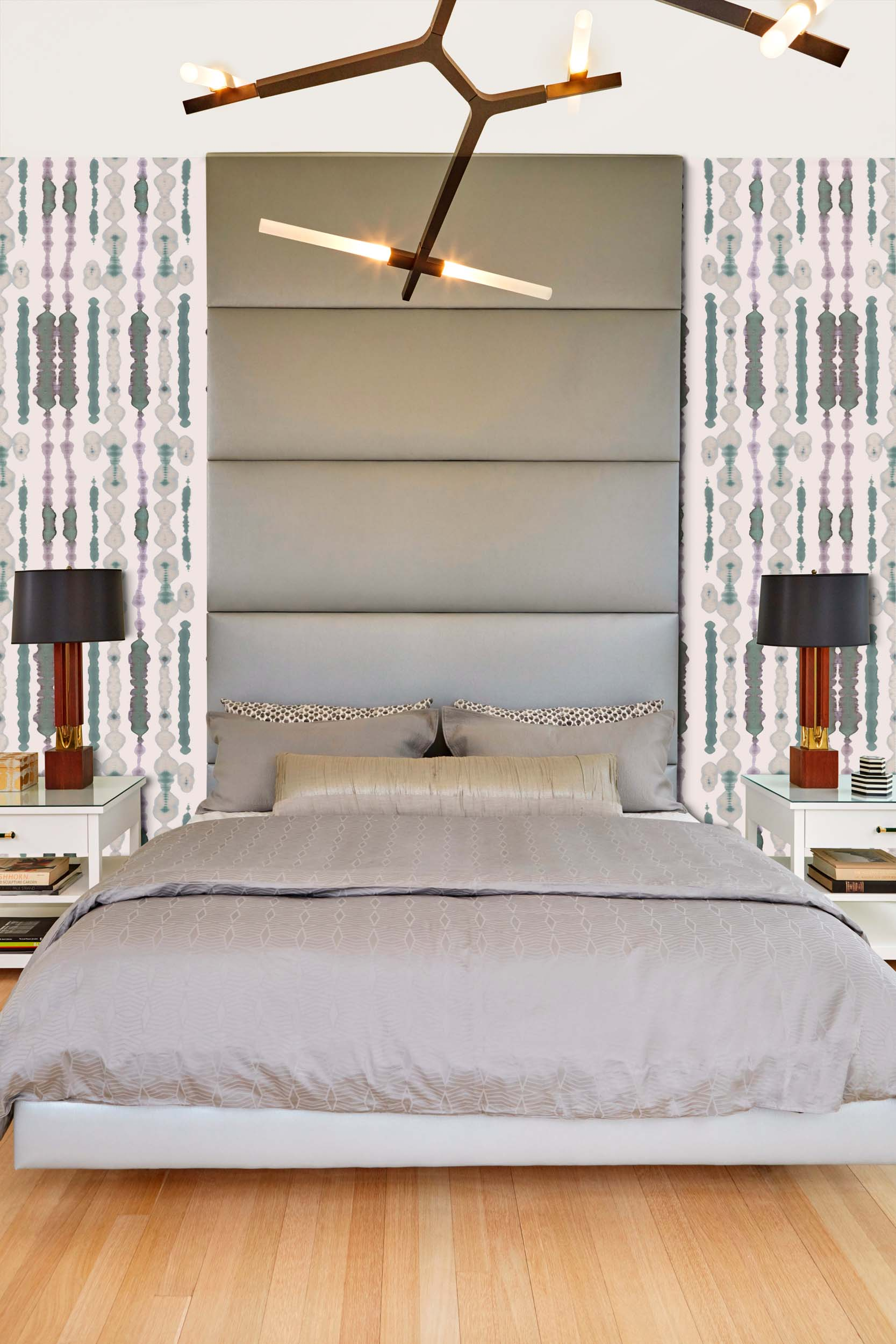 bedroom design with bed for two, lamp on each side the bed and stylish lights on ceiling