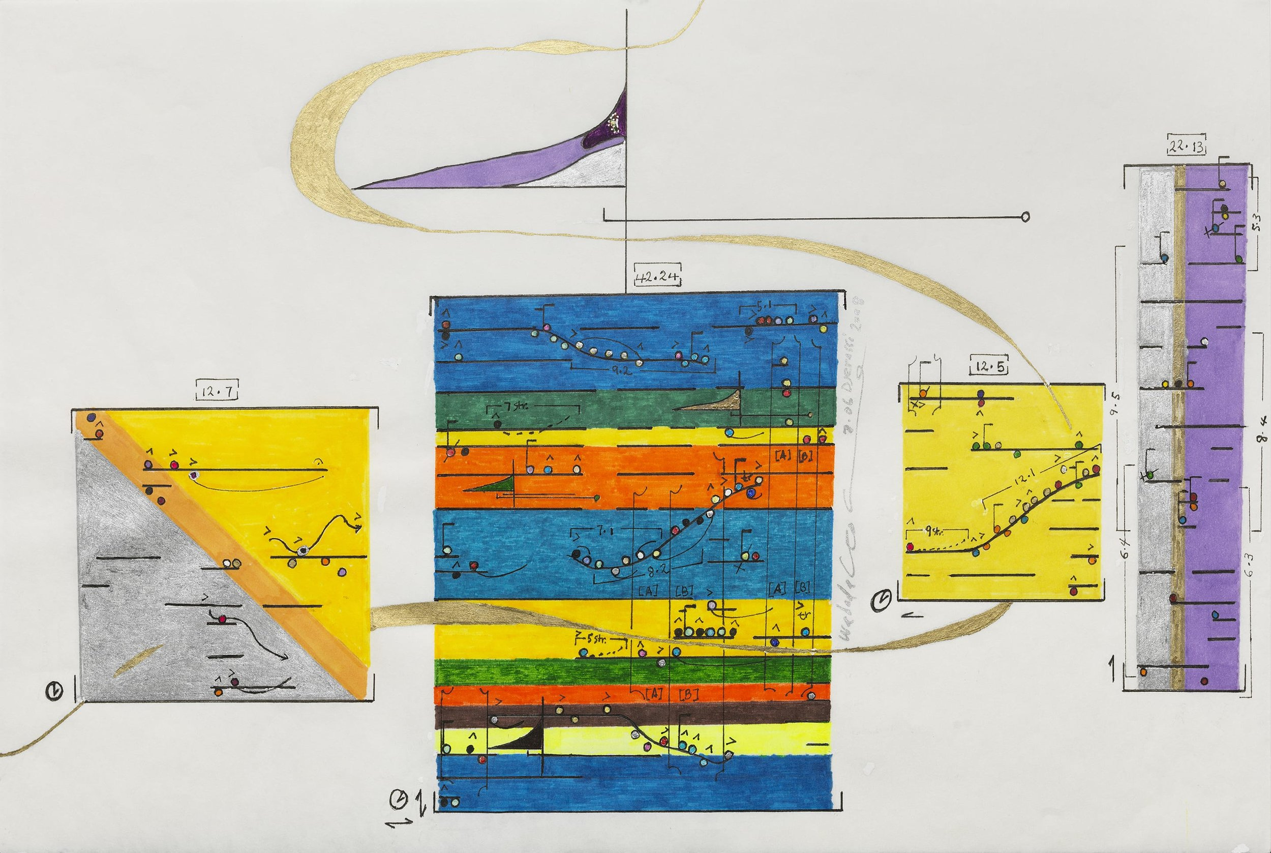 a score from Wadada Leo Smith's 'Ankhrasmation' (a graphic score. from left to write there are 4 different boxes. each box has different colors and symbols inside of it. there is a swirl running through the first three boxes and along the top in some more lines and shapes.)