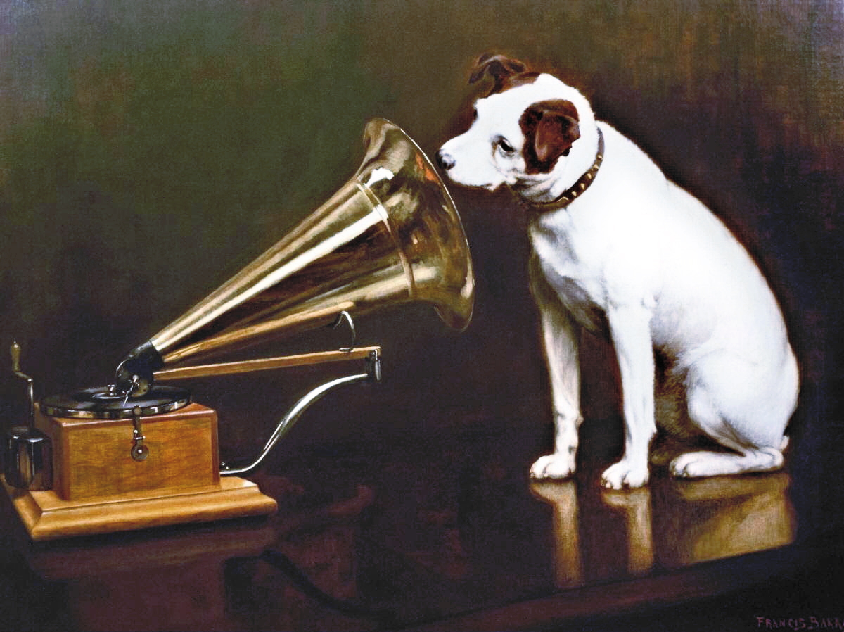 ' His Master's Voice' by Francis Barraud (1898) / (a painting of a white dog looking into a grammophone)