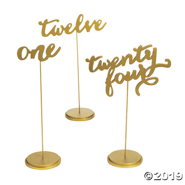 Standing calligraphy table numbers hire Sydney 1-25 $5 ea