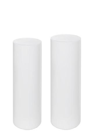 Set of two tall white plinths