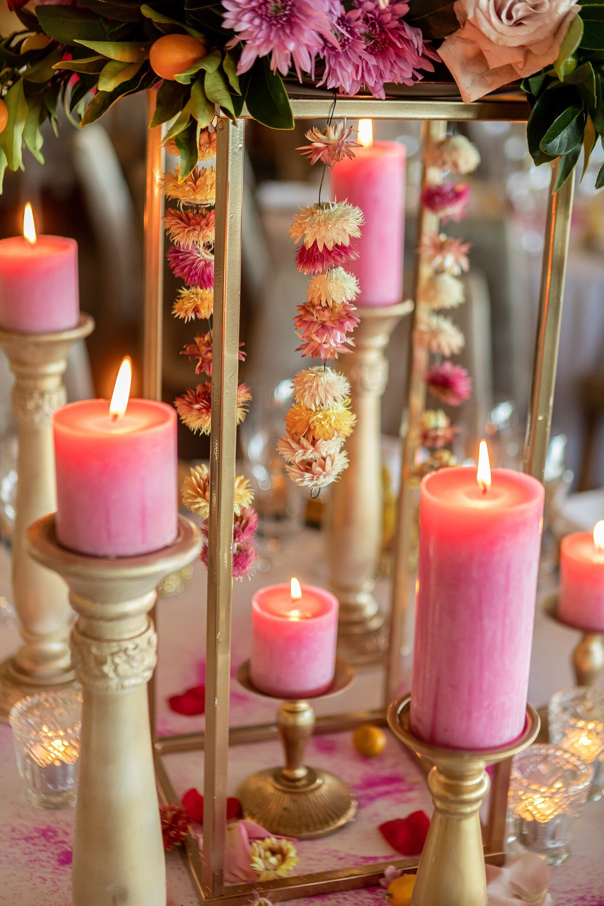 candles and flower garlands