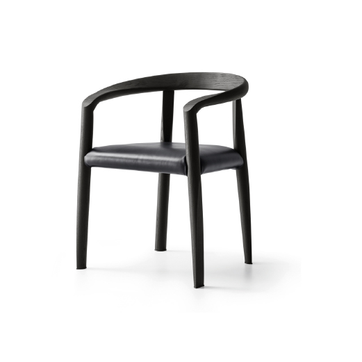 MISS - MOLTENI&CMiss chair, designed by Afra and Tobia Scarpa in 1986. The form is linked to a system of soft, unbroken, linear rhythms. The legs are slim and divaricated, to ensure stability. The front ones are bent to form the armrests and continue into the curve of the backrest. The back legs reach the backrest from behind, underpinning it. The seat is inserted between the lines and links them. Tobia Scarpa has re-designed the armrest joint to make the chair comfier and more linear. Structure in natural or black tinted ash, seat in leather or hand woven, ecru or grey, paper cord.Wallpaper* Design Awards Best Reissue 2017Designer:Tobia ScarpaRRP:from $1,550