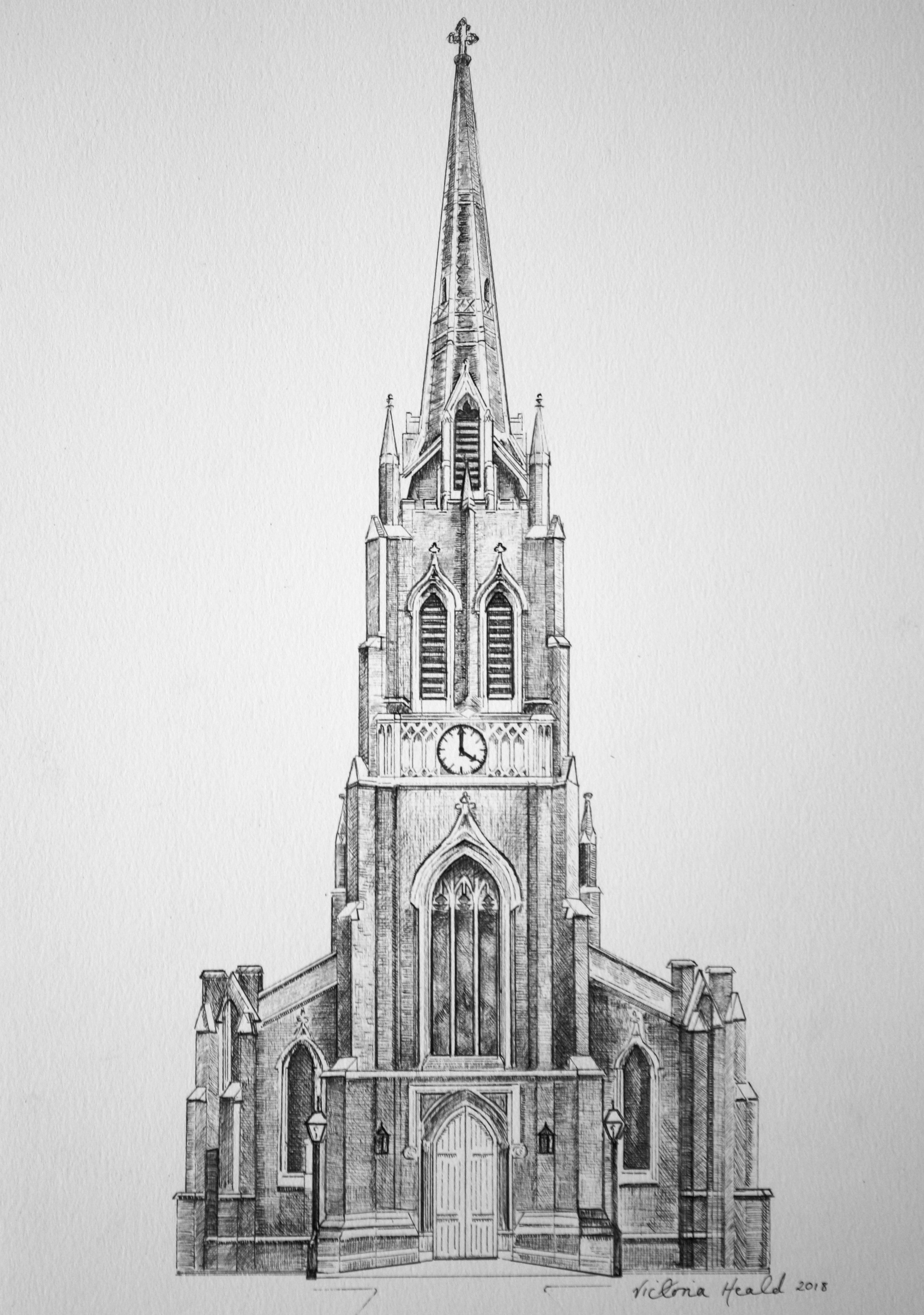 Drawing Commissions - Commission of St. Michael's Church, Highgate, London in pen and ink for a wedding Order of Service. Commissions of homes (below)Find out more about drawing commissions here.