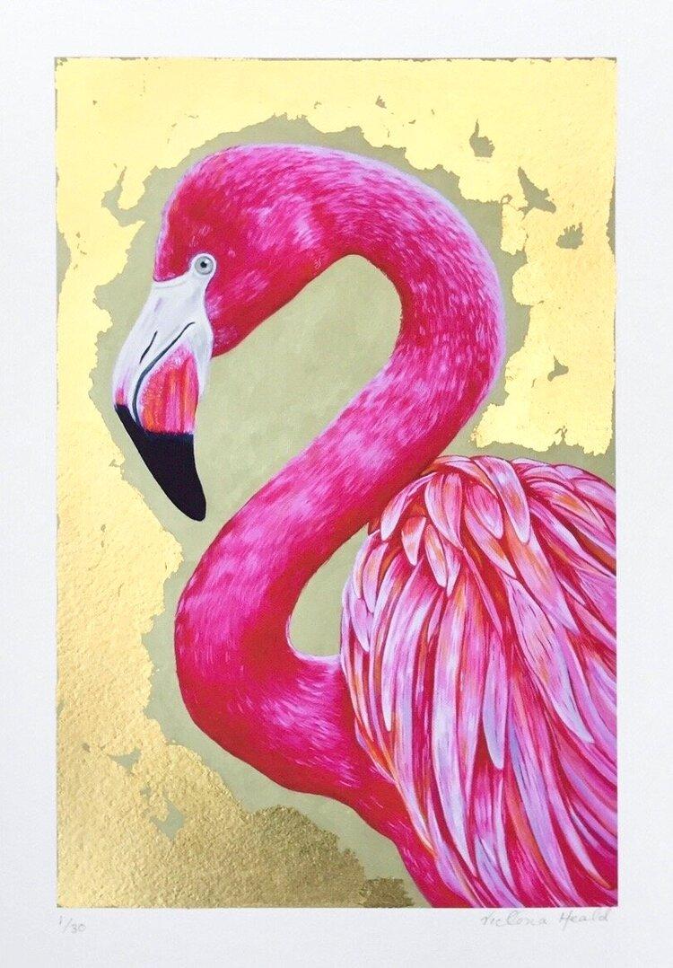 Flamingo #4: hand-embellished print