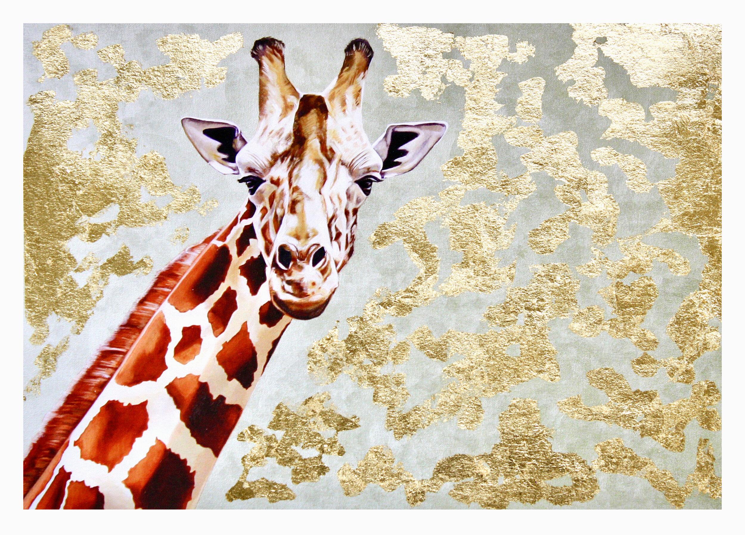 Giraffe #1: hand-embellished print
