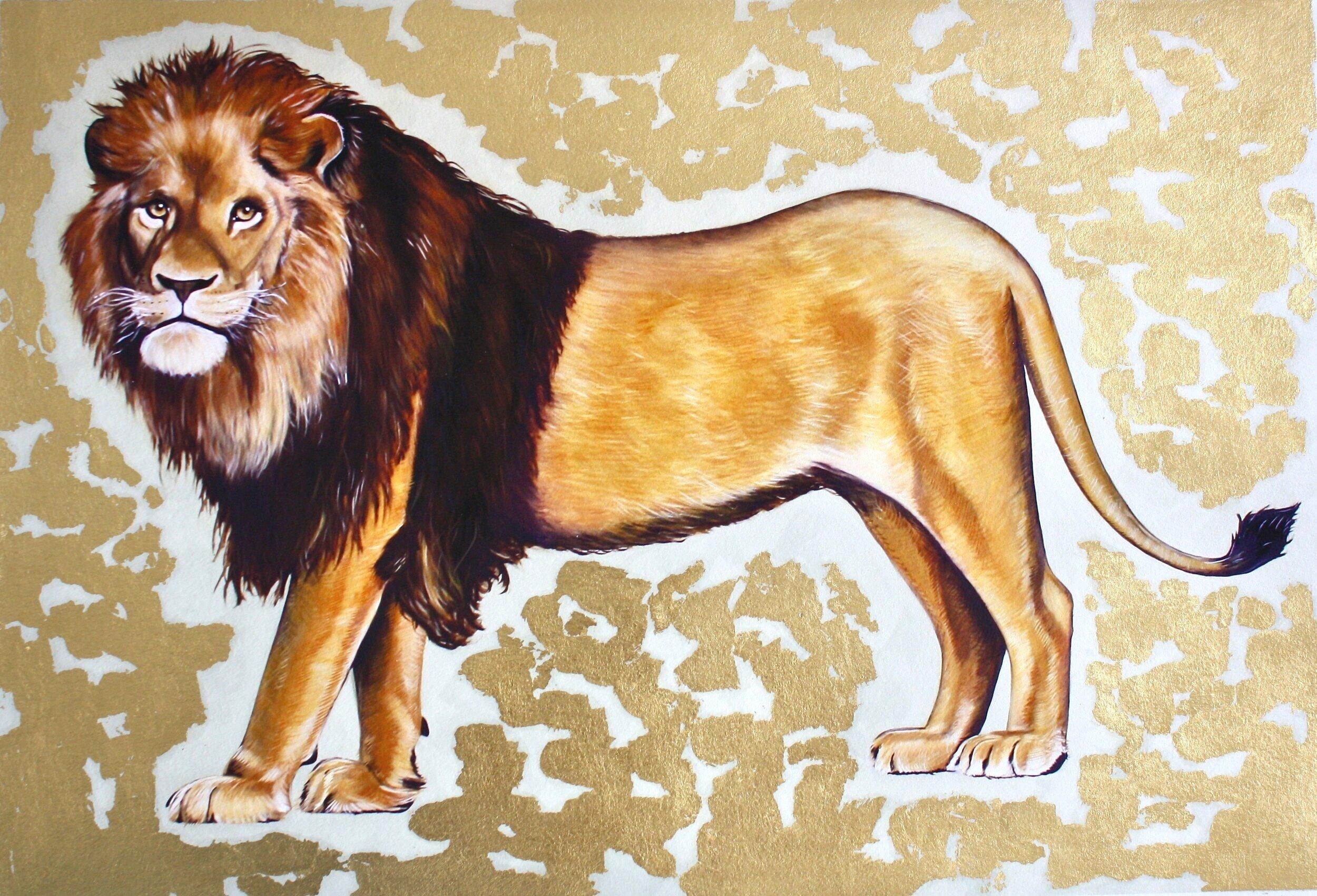 Lion #1: hand-embellished print