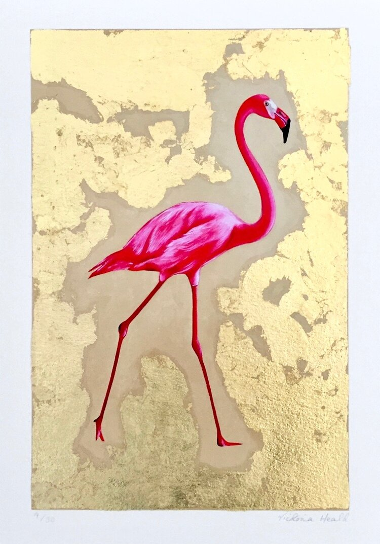 Flamingo #2: hand-embellished print