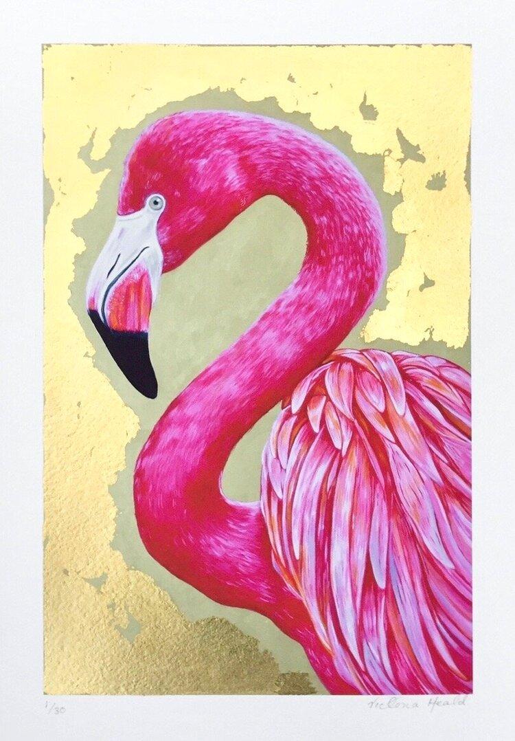 Flamingo #3: hand-embellished print