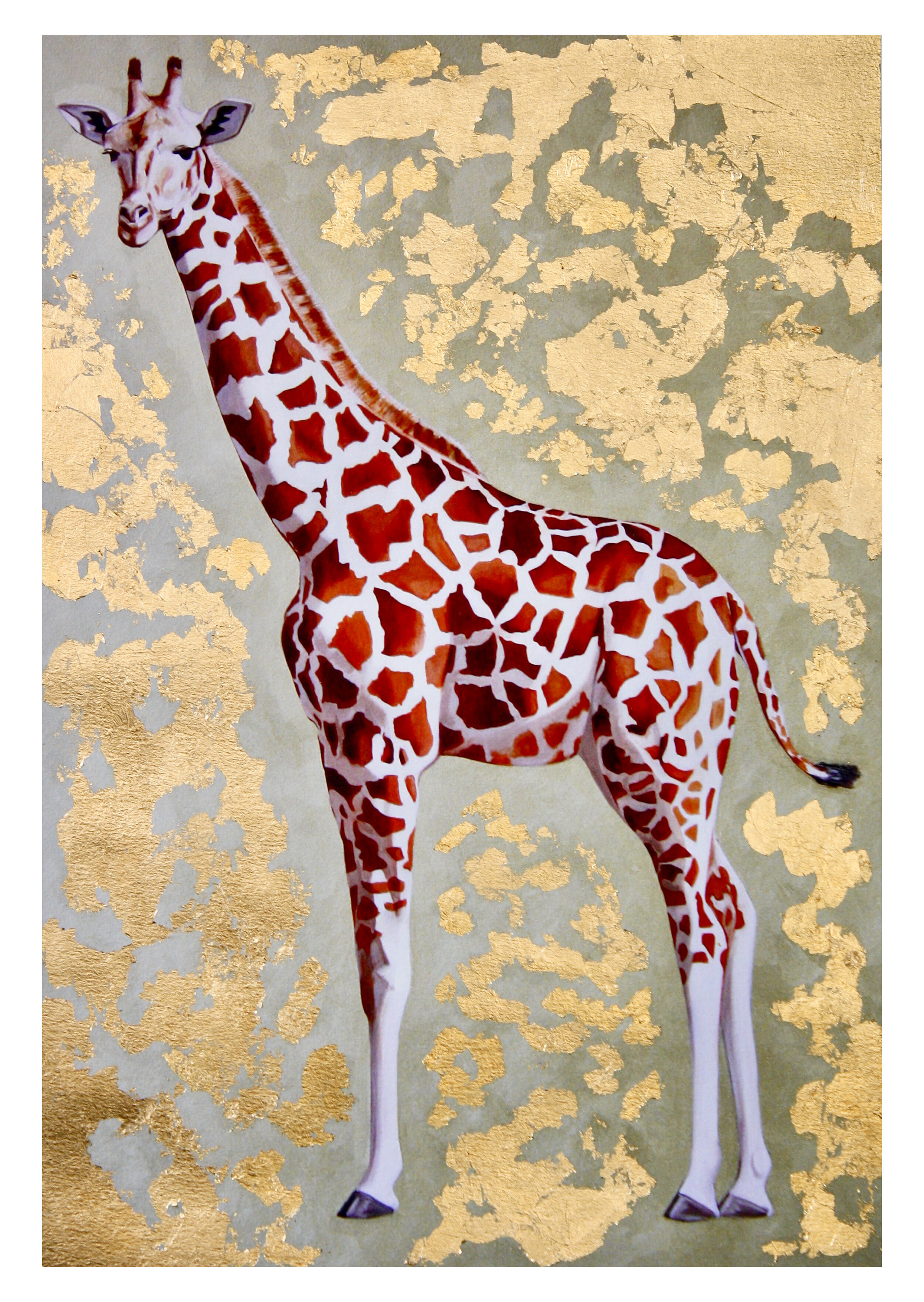 Giraffe #2: hand-embellished print
