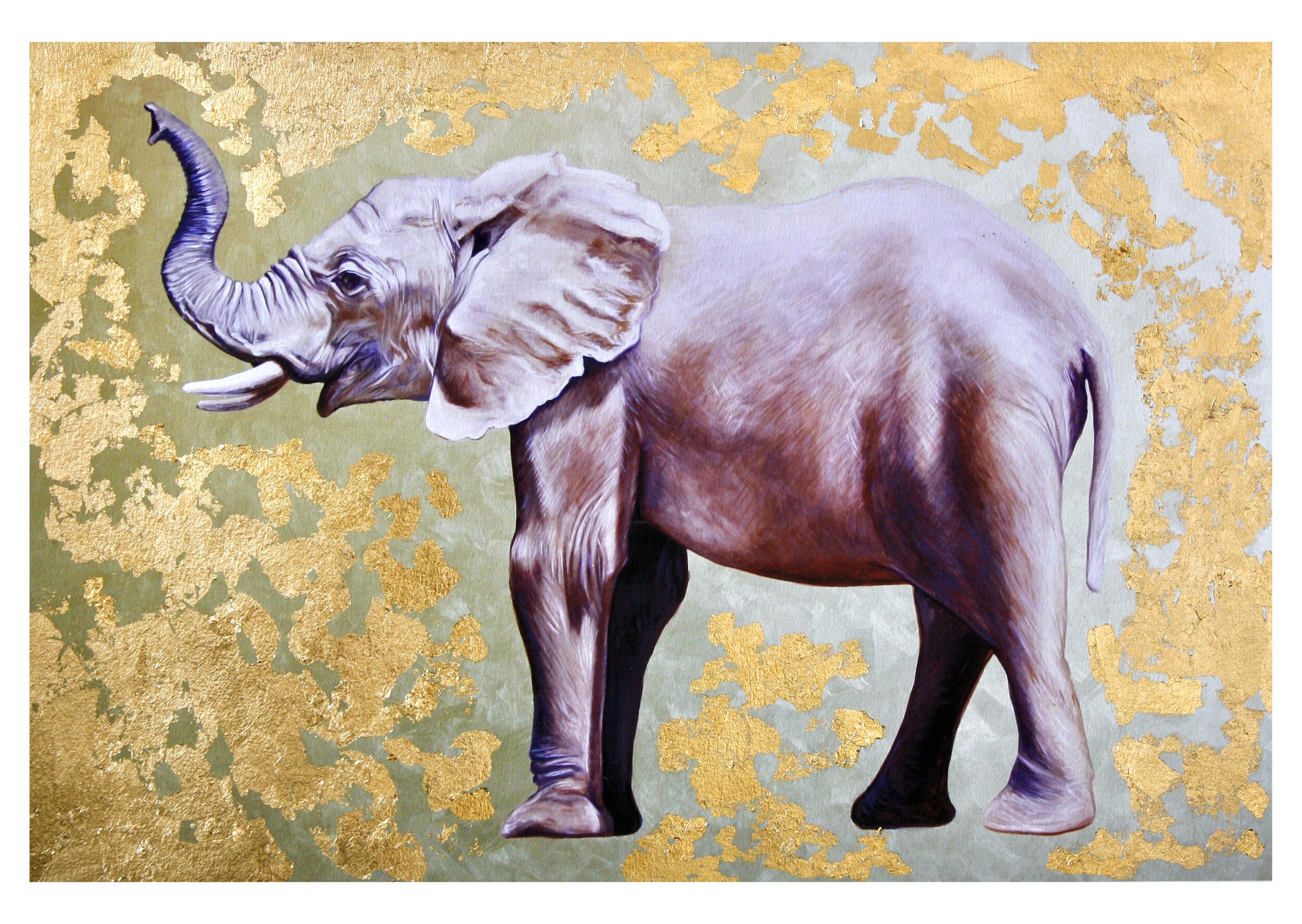 Elephant #1: hand-embellished print