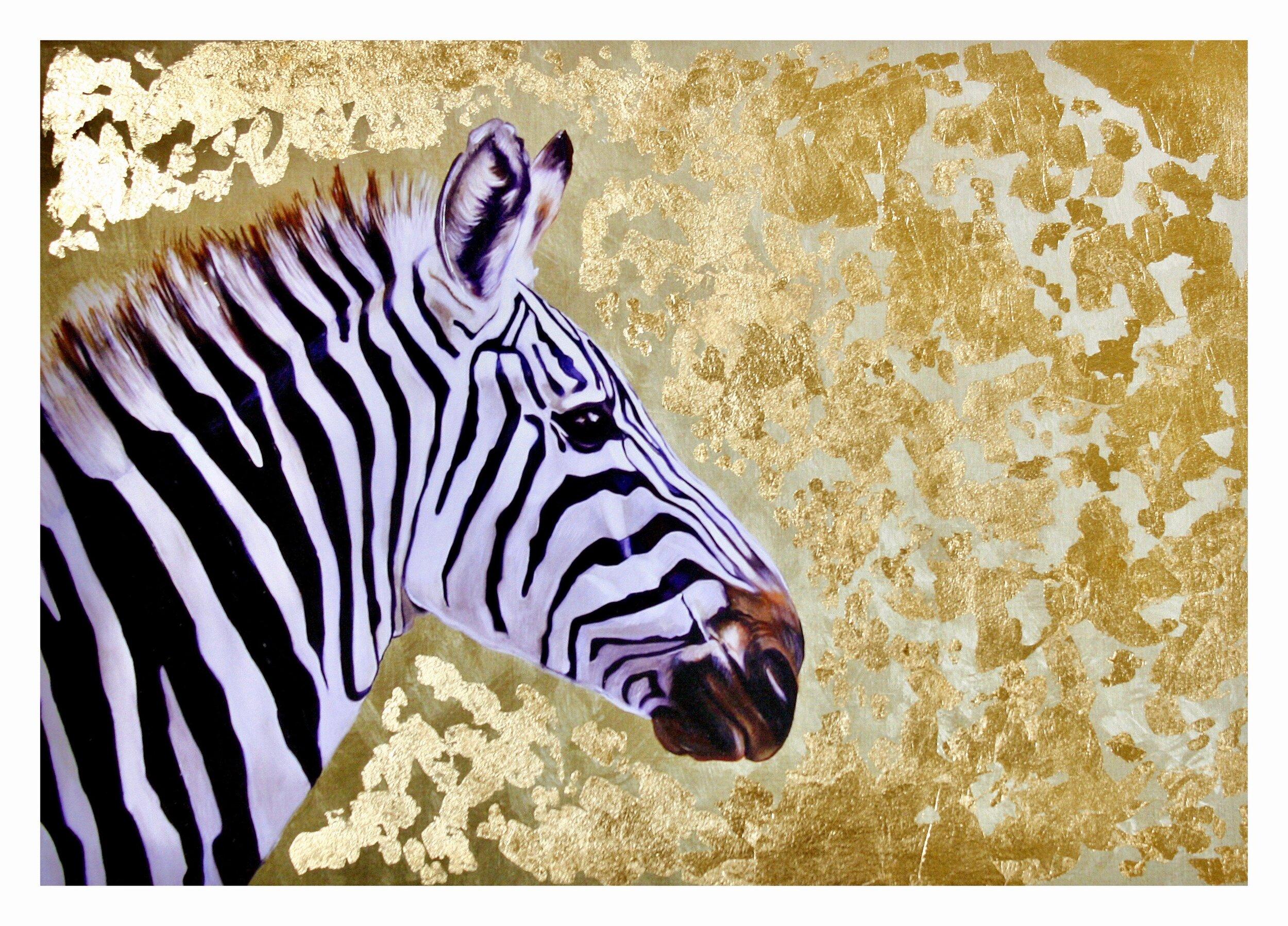 Zebra #1: hand-embellished print