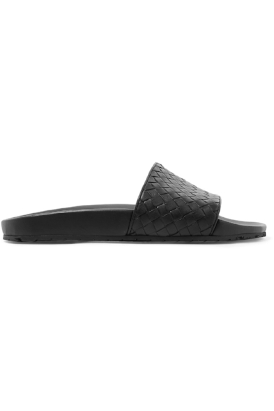 Bottega Veneta lake intrecciato leather slides