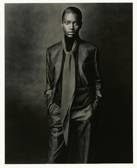 Hermès A/W 2001-2002 Collarless jacket and pants in cashmere and silk, high-neck pullover in cashmere and silk, scarf 'Losange' in silk crêpe, Le Monde d'Hermès, Photo: Ralph Mecke