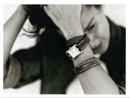 Hermès S/S 1999 Cape Cod watch in silver (designed by Henri d'Origny) and double-tour strap bracelet in bridle leather (created by Martin Margiela), Le Monde d'Hermès, Photo: Serge Guerand