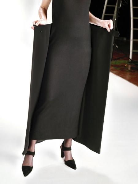 Hermès A/W 2002-2003 Tuxedo over-skirt in silk ottoman from 'Les Gestuelles', Photo: Marina Faust