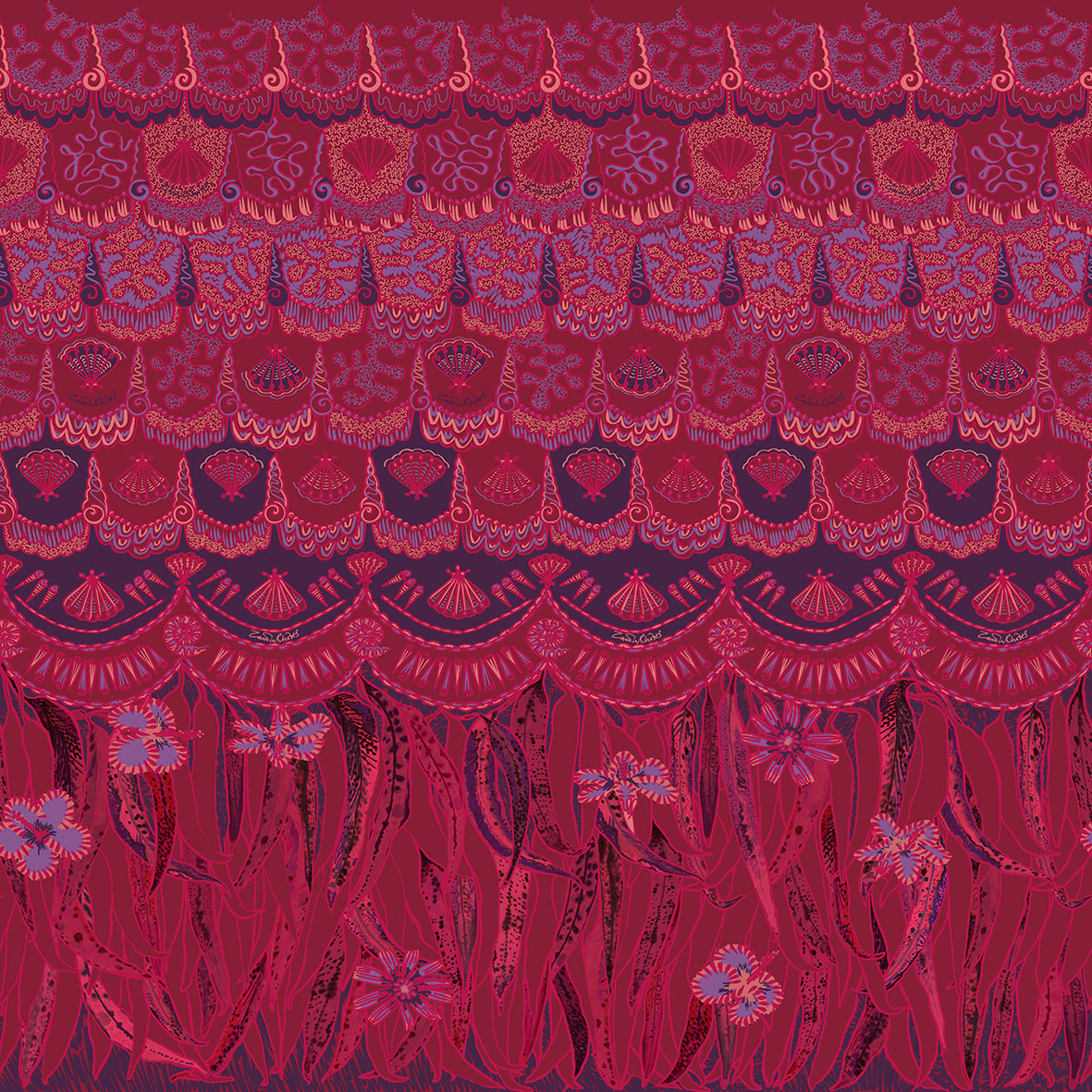 Textile print by Zandra Rhodes featuring feathers, shells and hibiscus © Zandra Rhodes, 2015