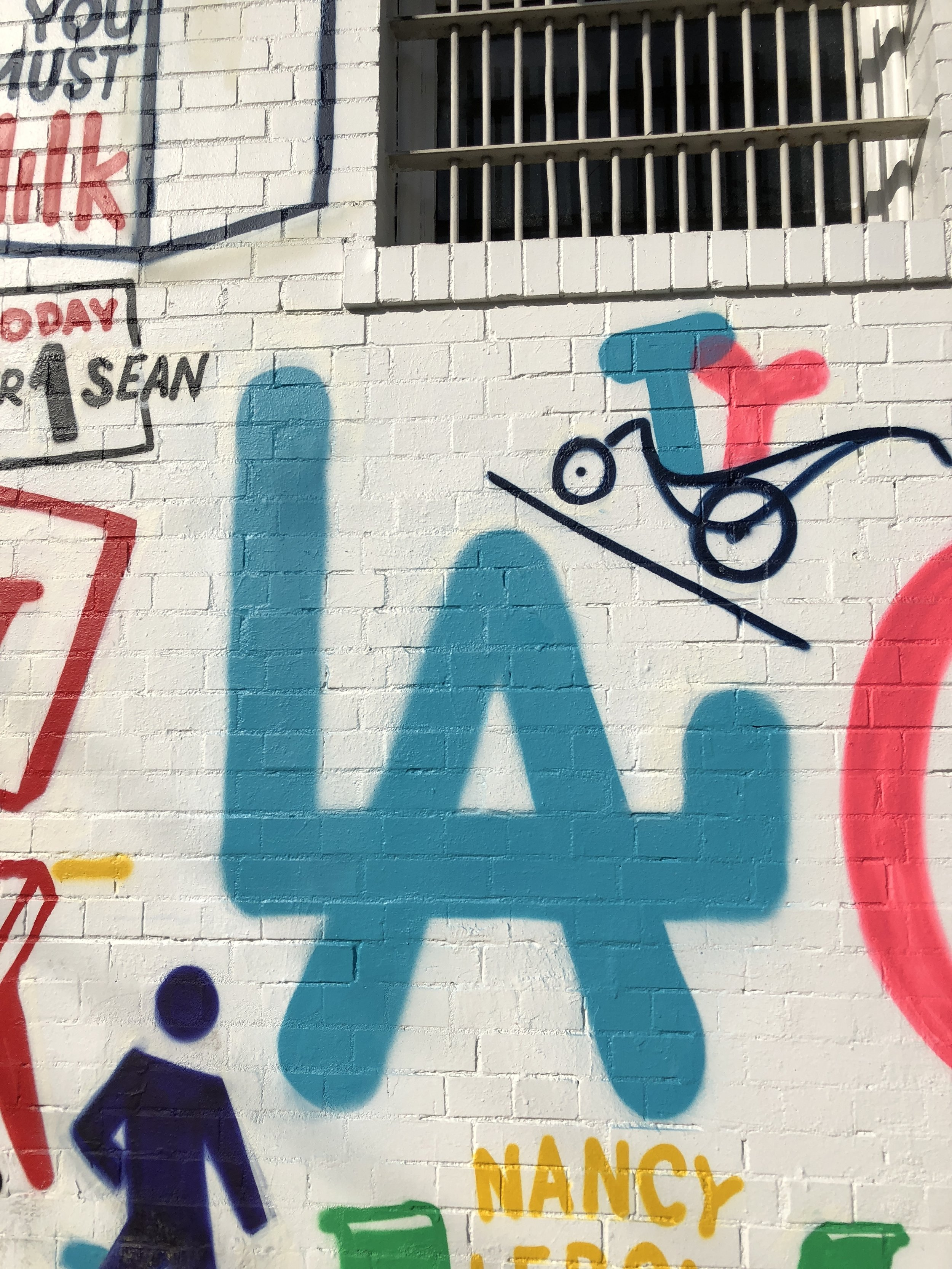 The mural on one of the walls at La Colombe
