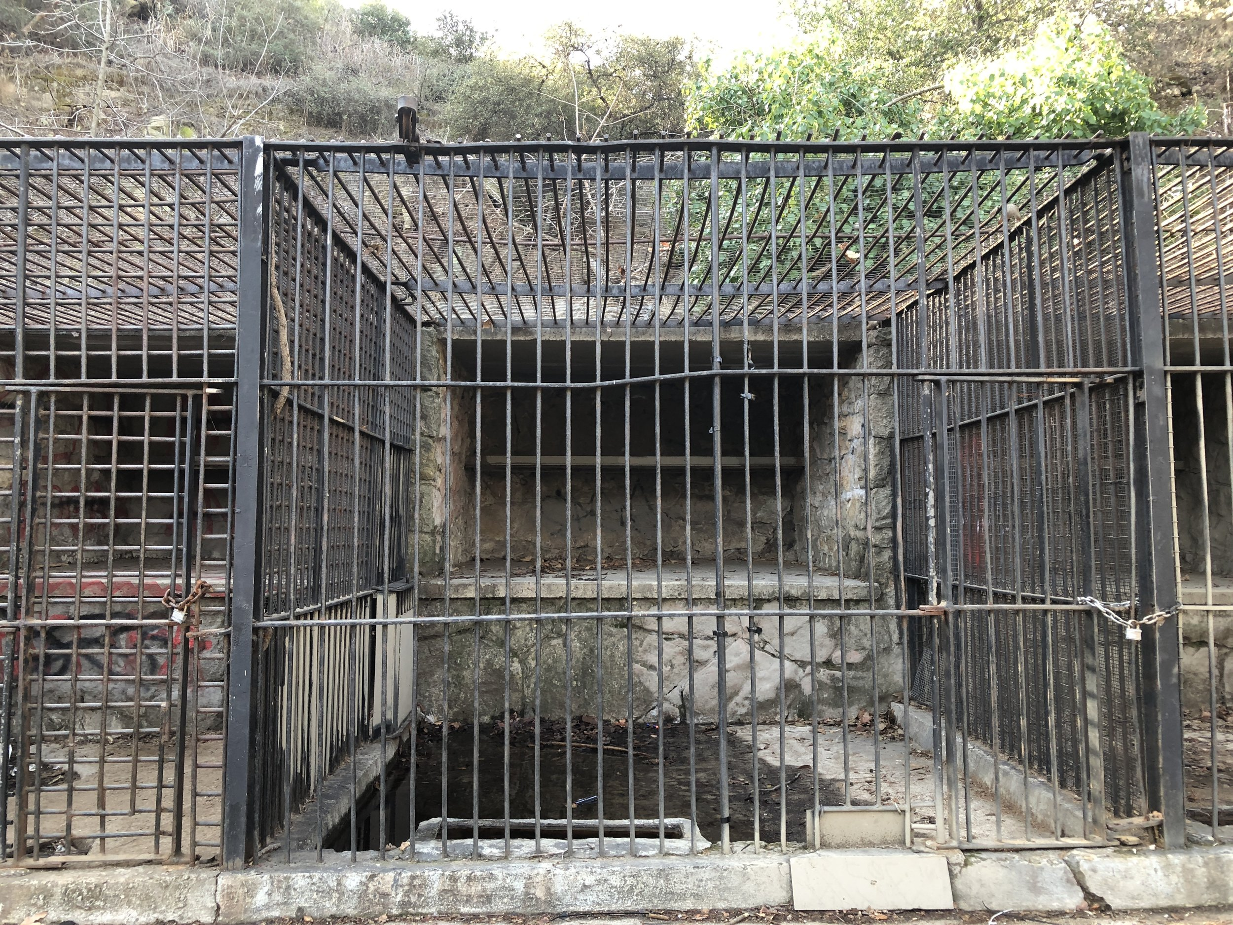 The remaining animal cages of the Old Griffith Park Zoo