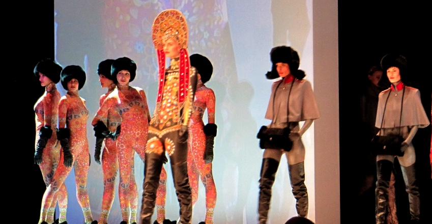 How people back home imagine European women dress: catsuits and Babuschkas (as seen at Roeckl AW2013 show)