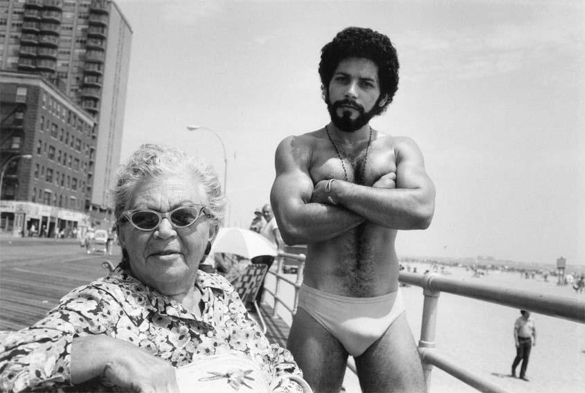 (c) Arlene Gottfried Angel & Woman on Boardwalk, Brighton Beach, NY