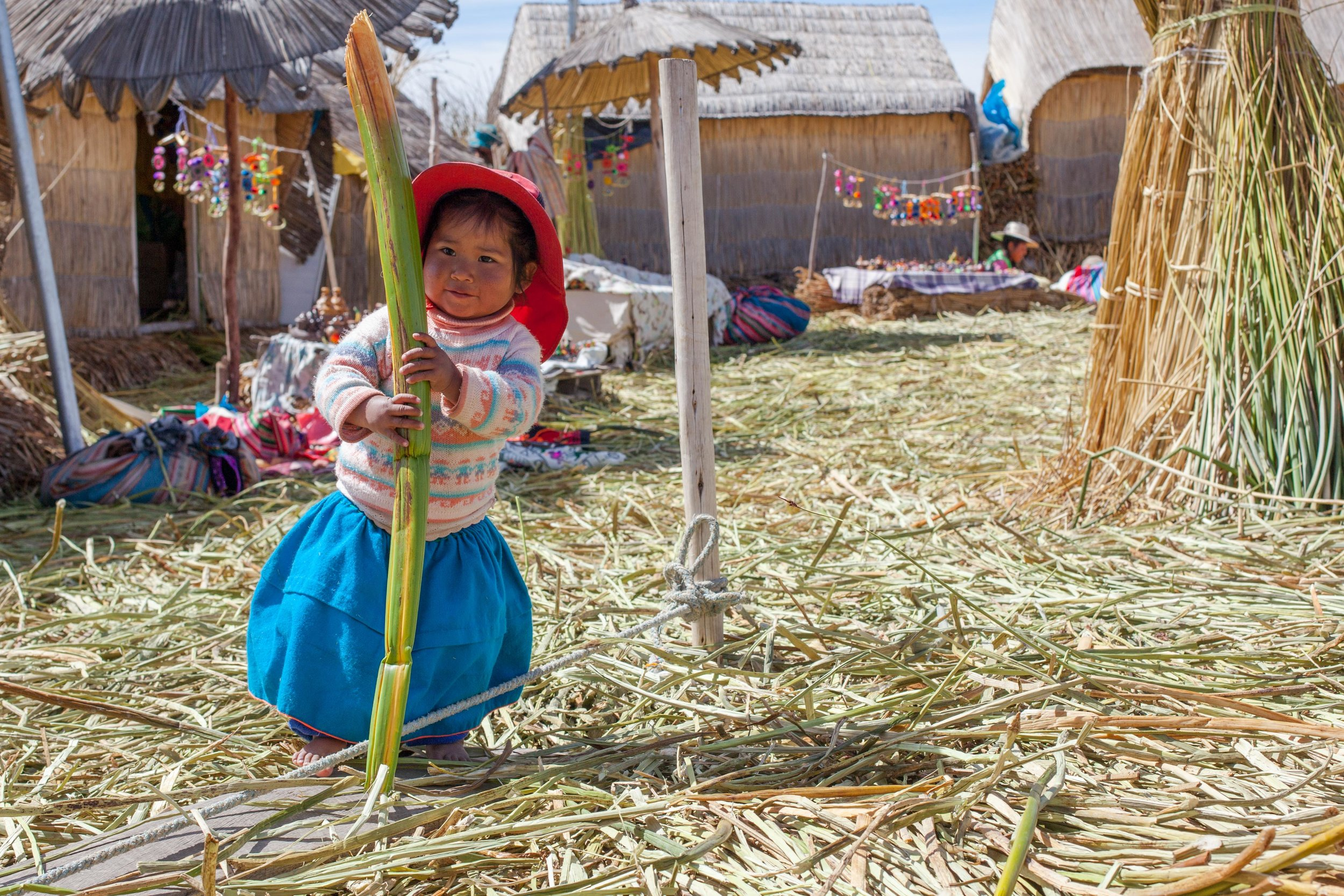 The colourful Uros islands in Puno, Peru.