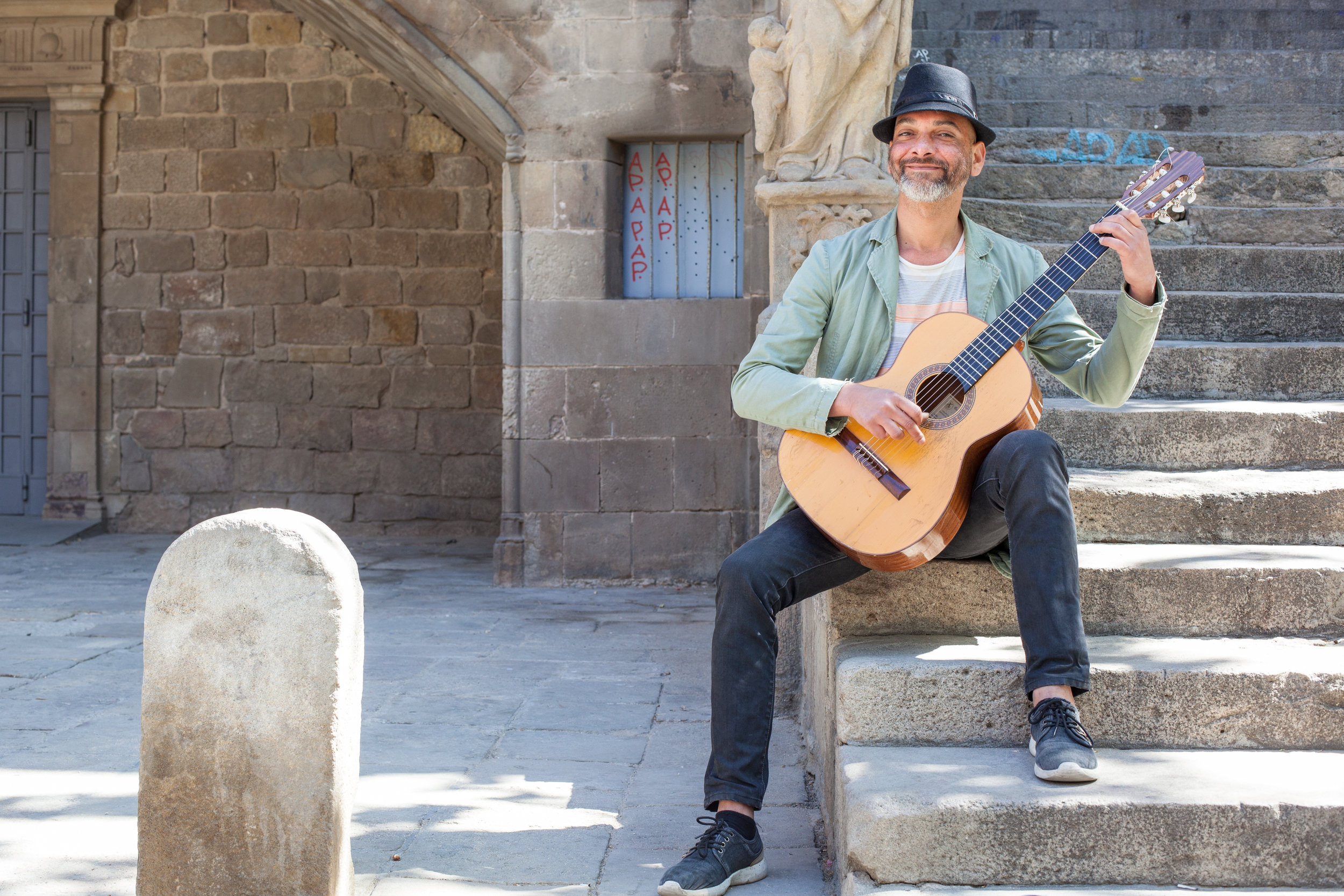 A street musician in Barcelona, Spain.