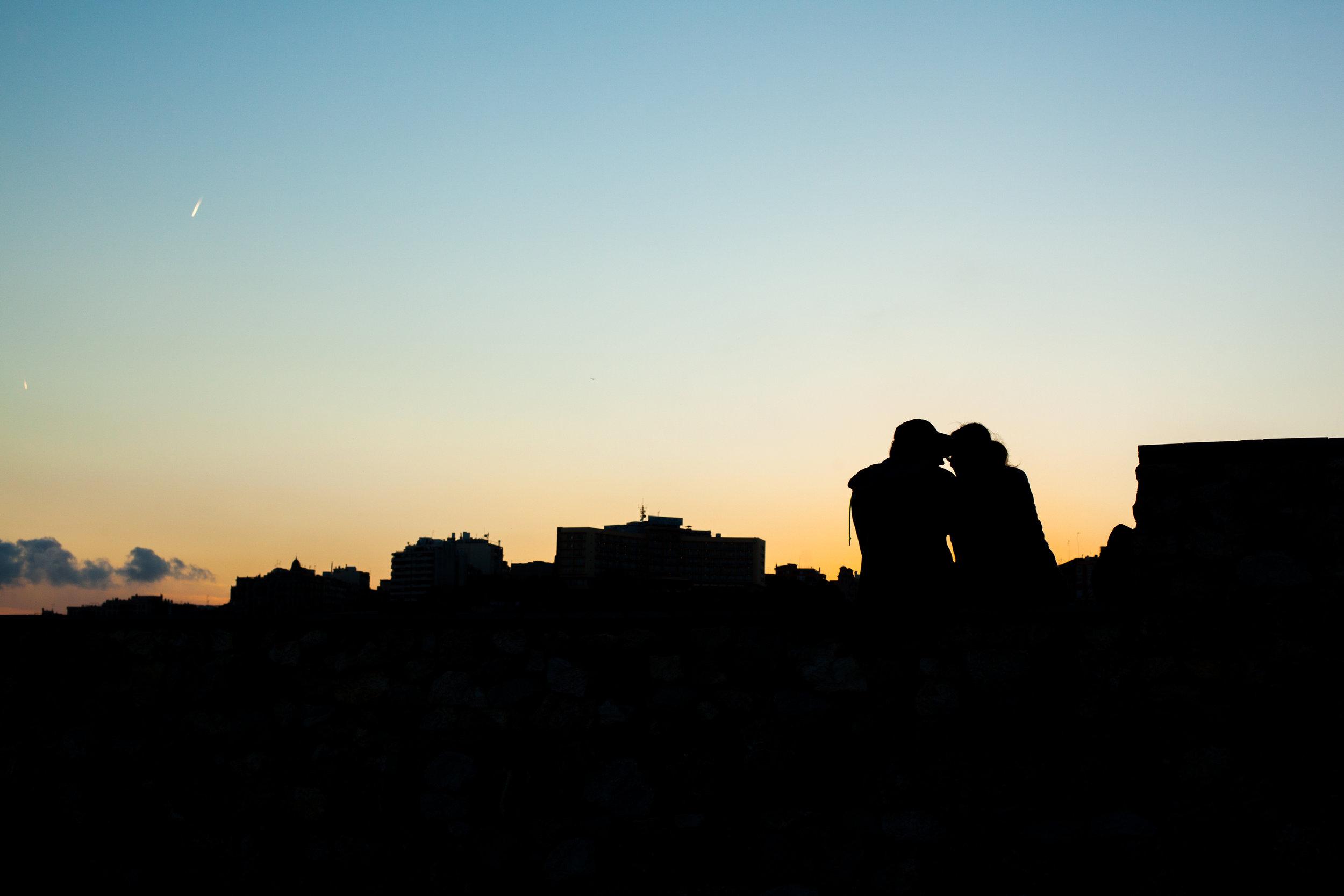 A romantic silhouette sunset shot in Tarragona, Catalonia.