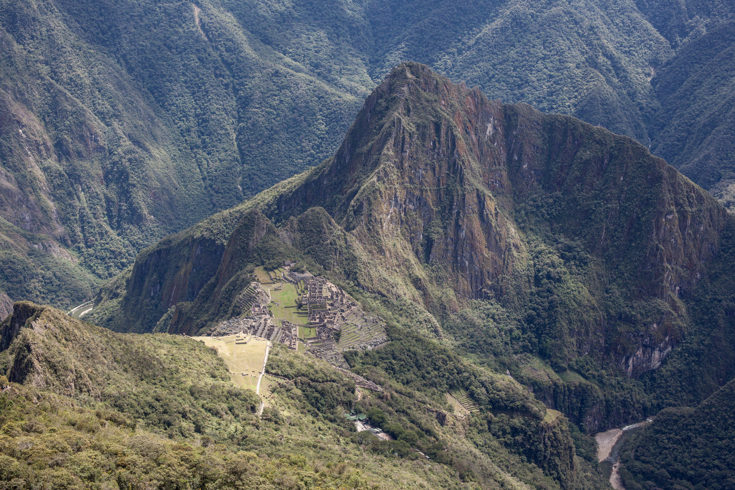 Looking down on Machu Picchu from Machu Picchu Mountain.