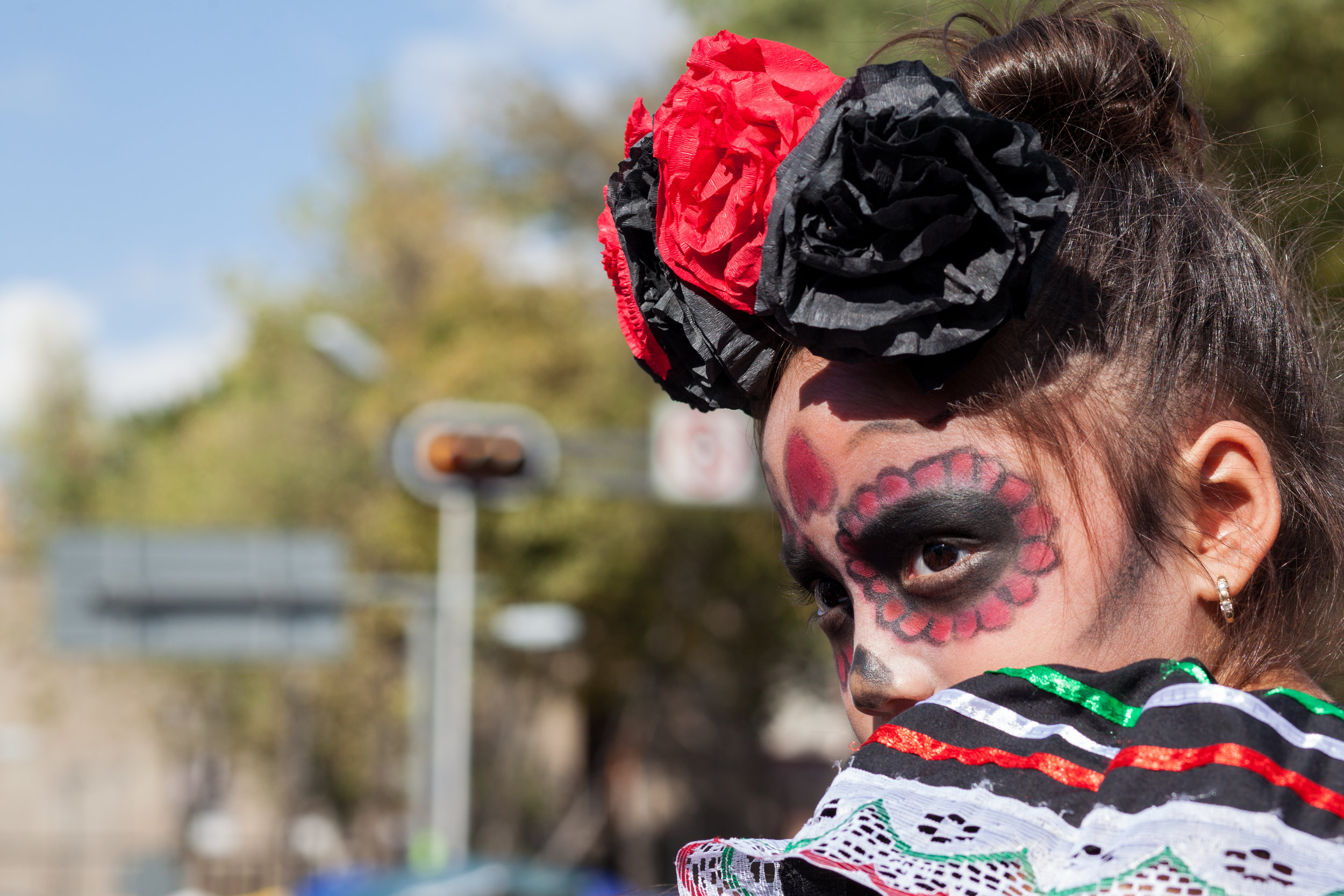 A girl wears make up for the Day of the Dead in District Federal, Mexico.