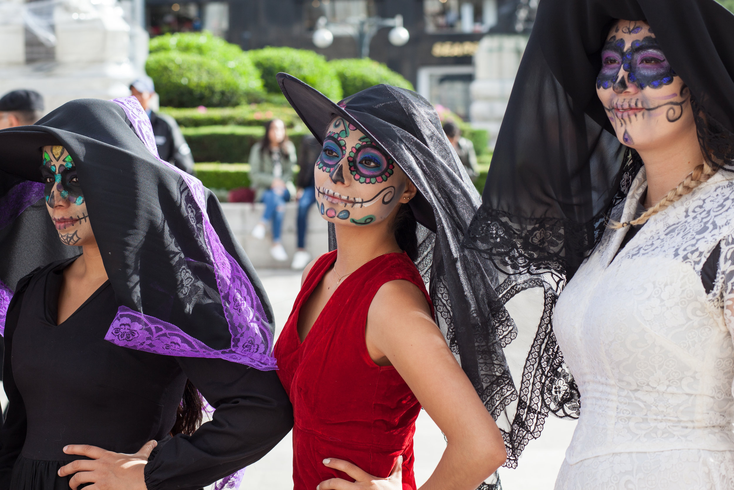 Women in fancy dress in Mexico City.
