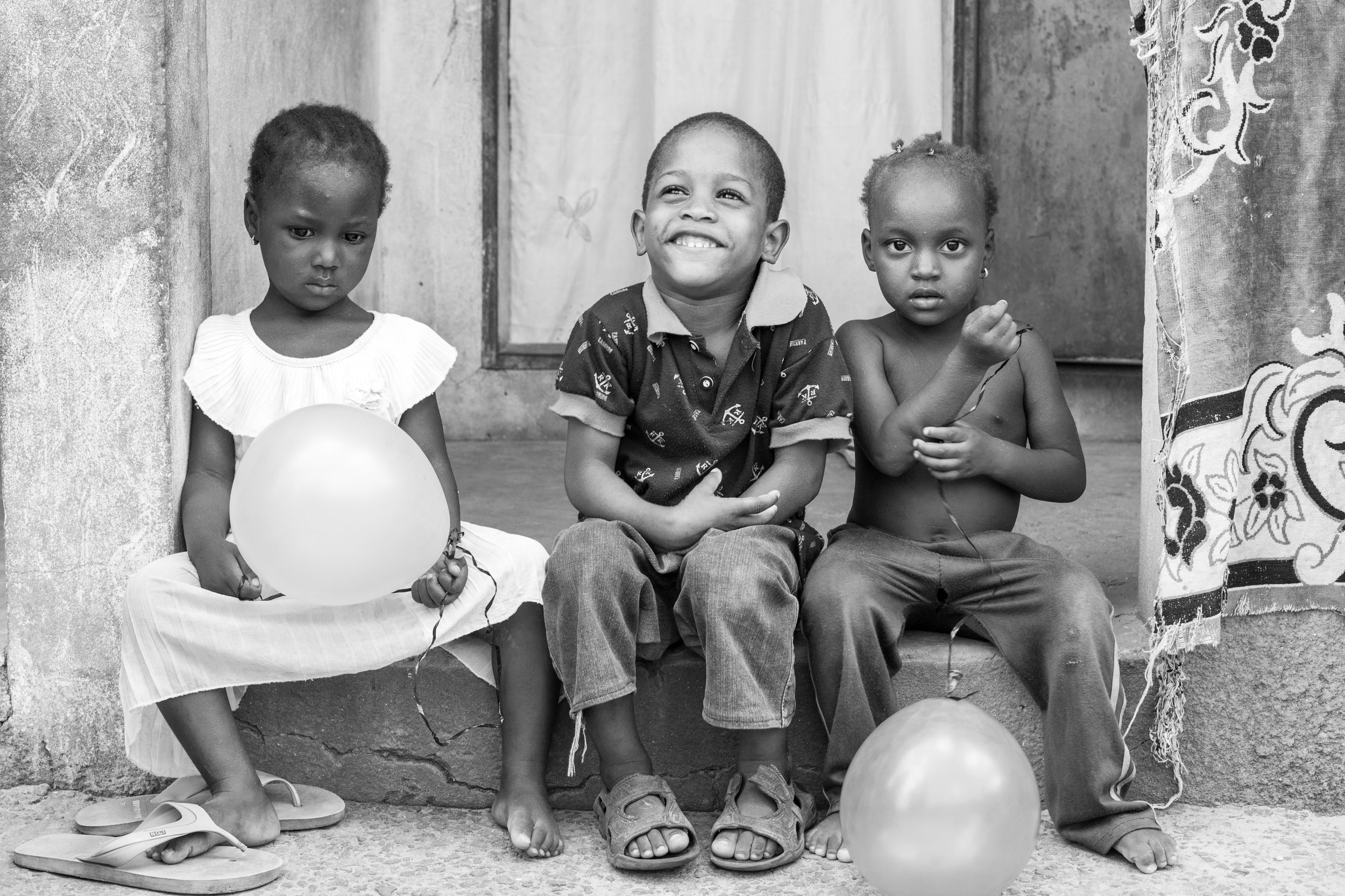African children playing in the street.