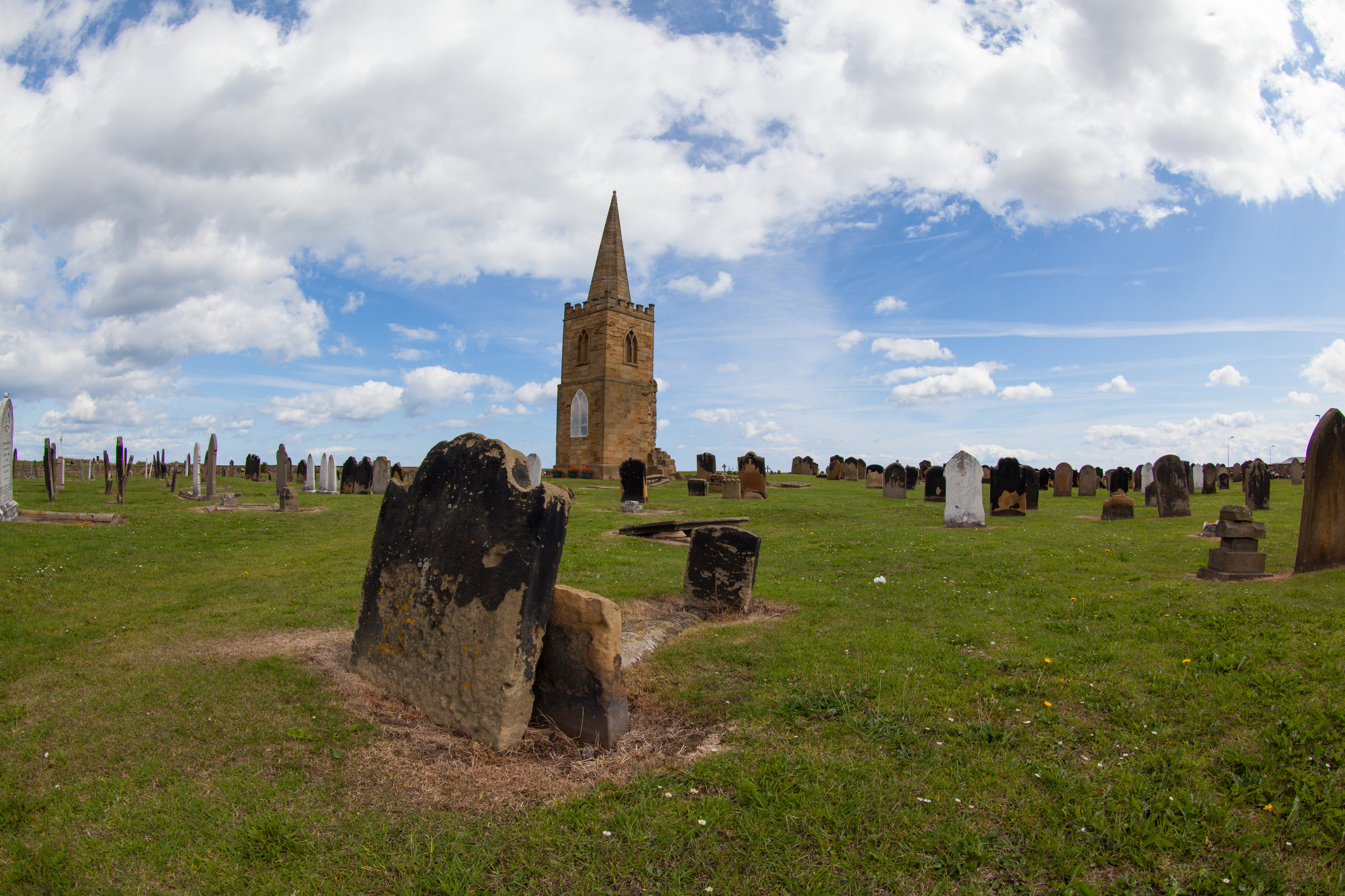 A church and graveyard.