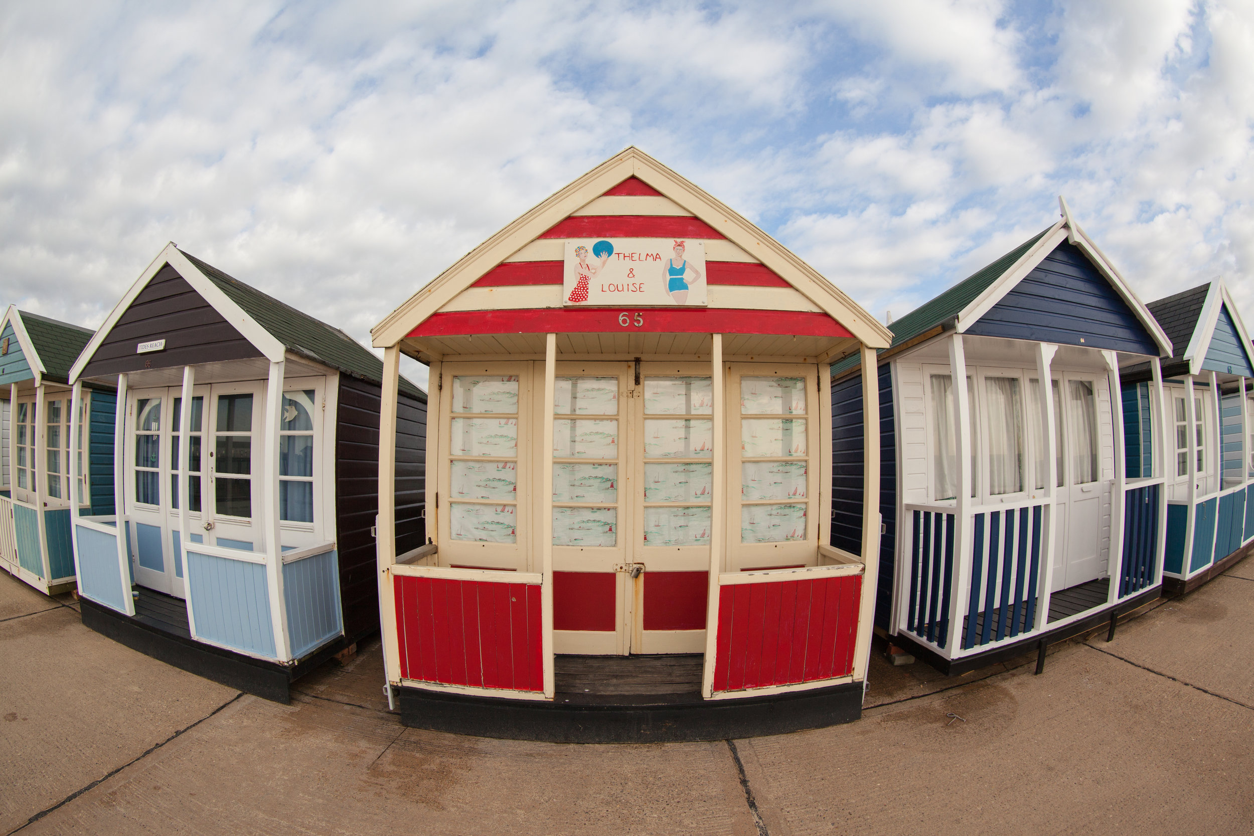 Traditional English beach huts at Southwold.