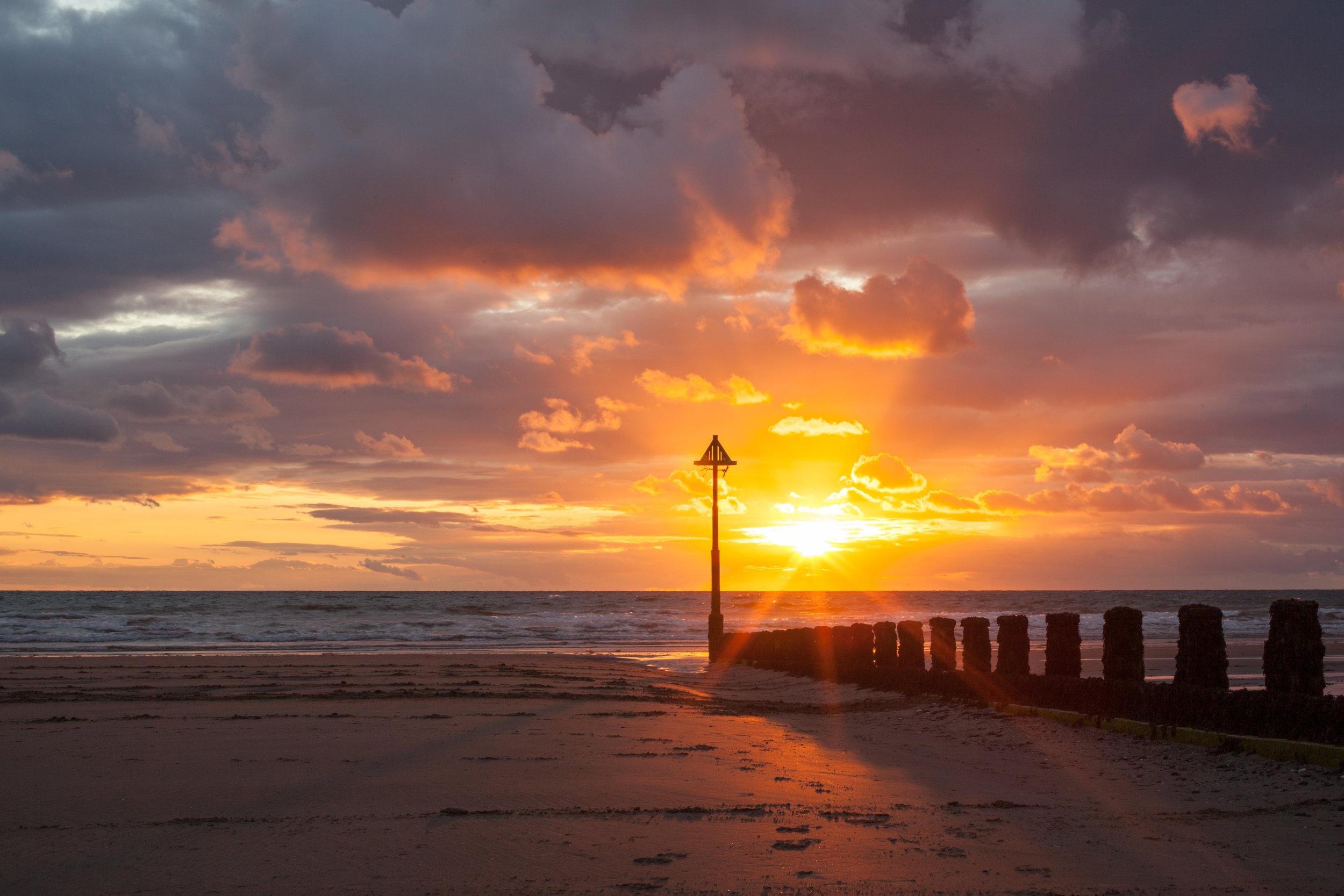 Borth Beach, Aberystwyth at Sunset.