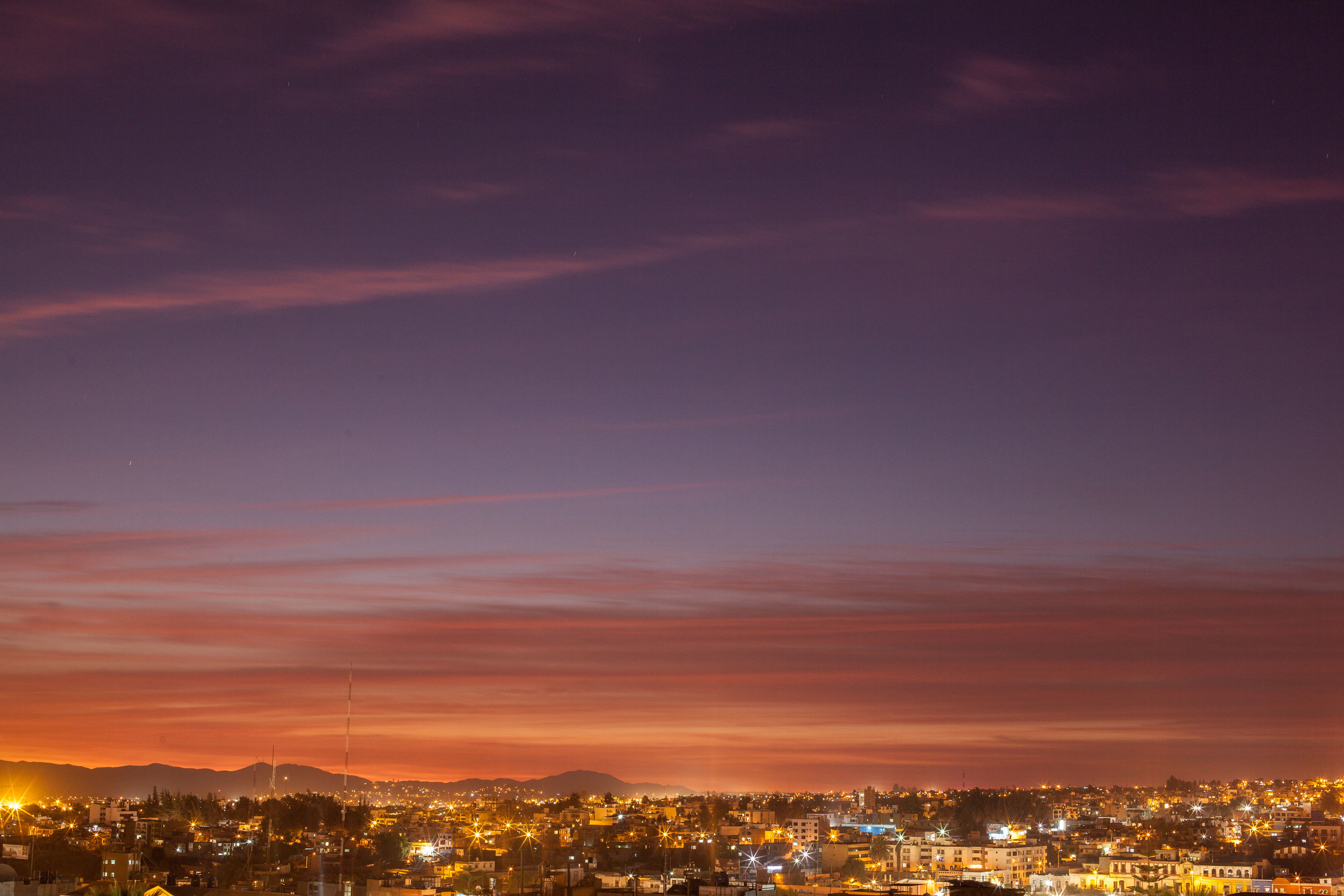 A beautiful sunset over the City of Arequipa in Peru.