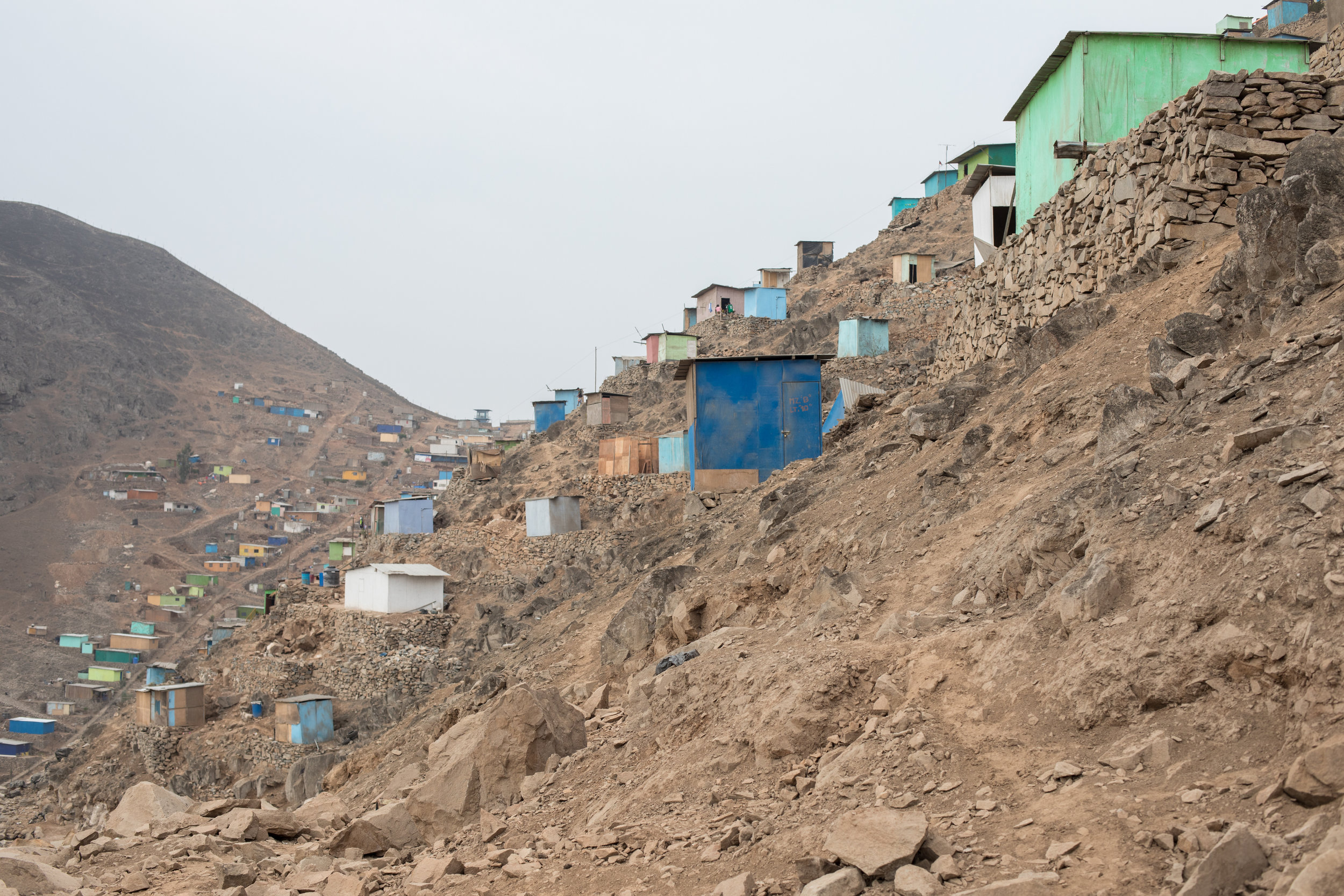 A shanty town on the side of a hill in San Juan de Miraflores in Lima.