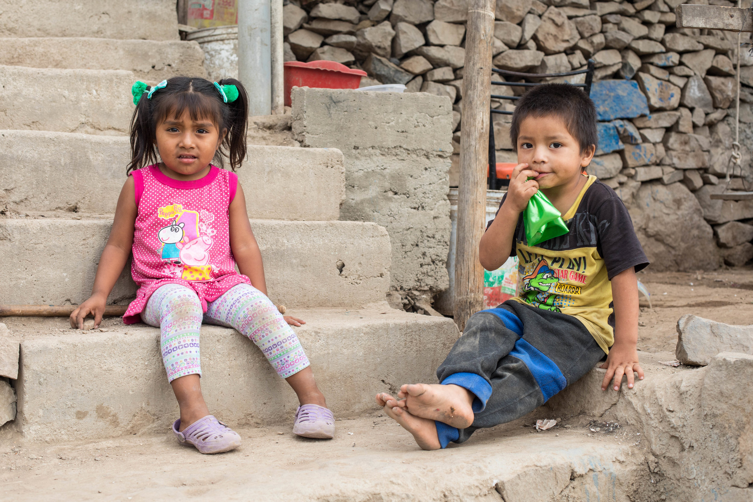 Cute Peruvian kids in one of the communities supported by Reciprocity NGO, Lima, Peru.