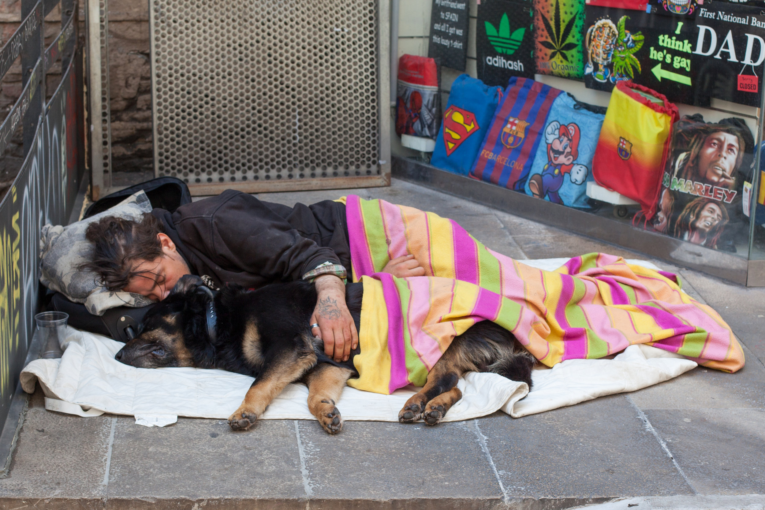 Homelessness in Barcelona, Spain.